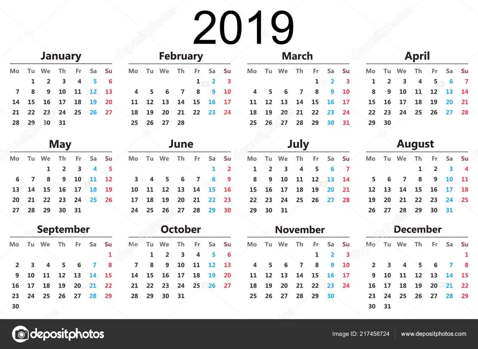 Календарь 2019 Векторные Иллюстрации Новый Год — Векторное 2/2019 Calendar