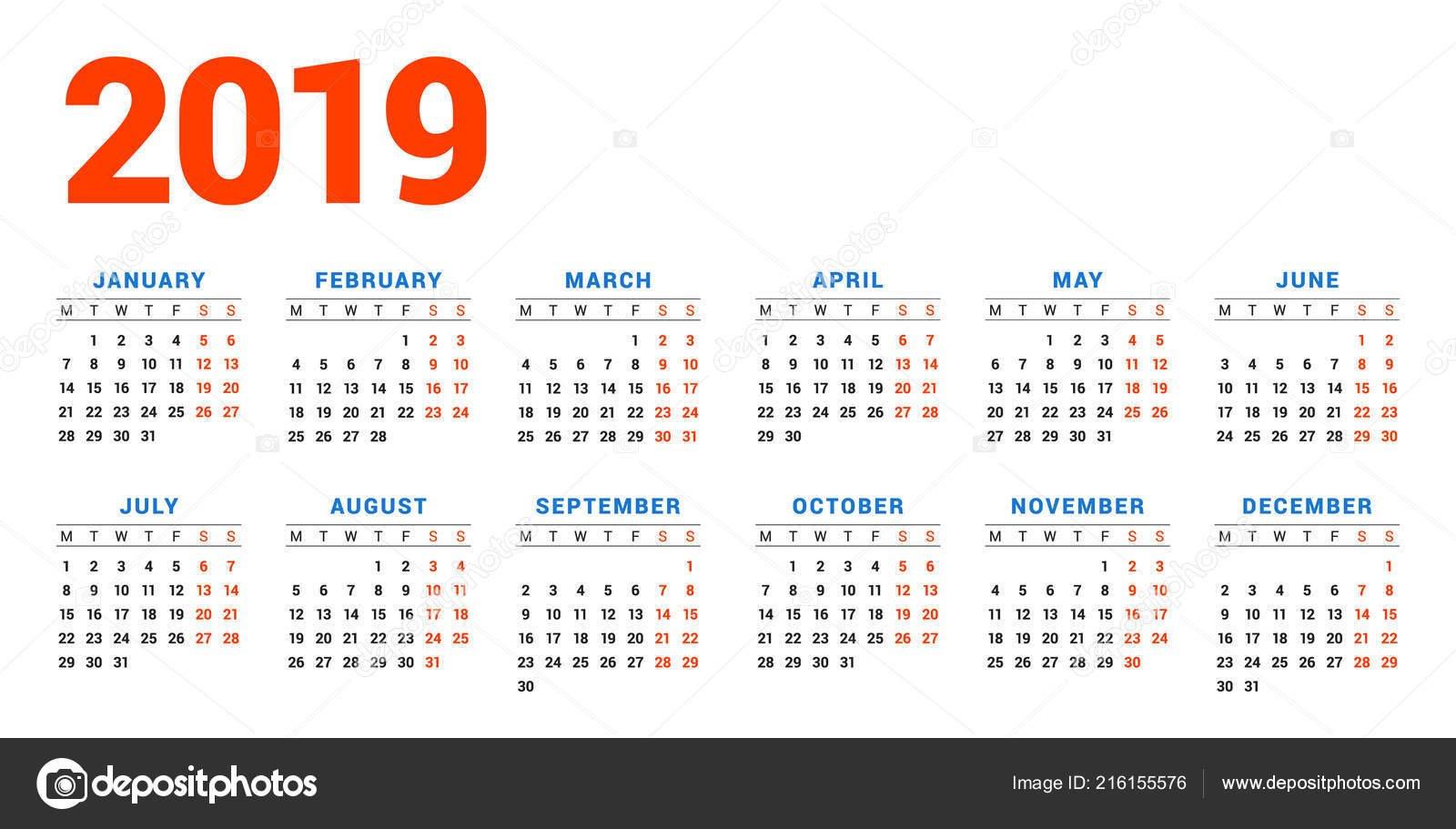 Календарь 2019 Год Белом Фоне Неделя Начинается Понедельник Колонок Calendar En 8 2019