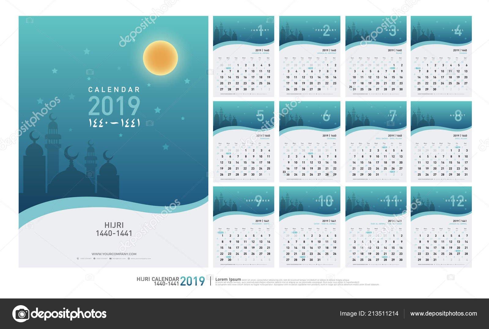 Календарь 2019 Хиджра 1440 1441 Исламской Шаблон Минимальный Простой 2019 Calendar 1440