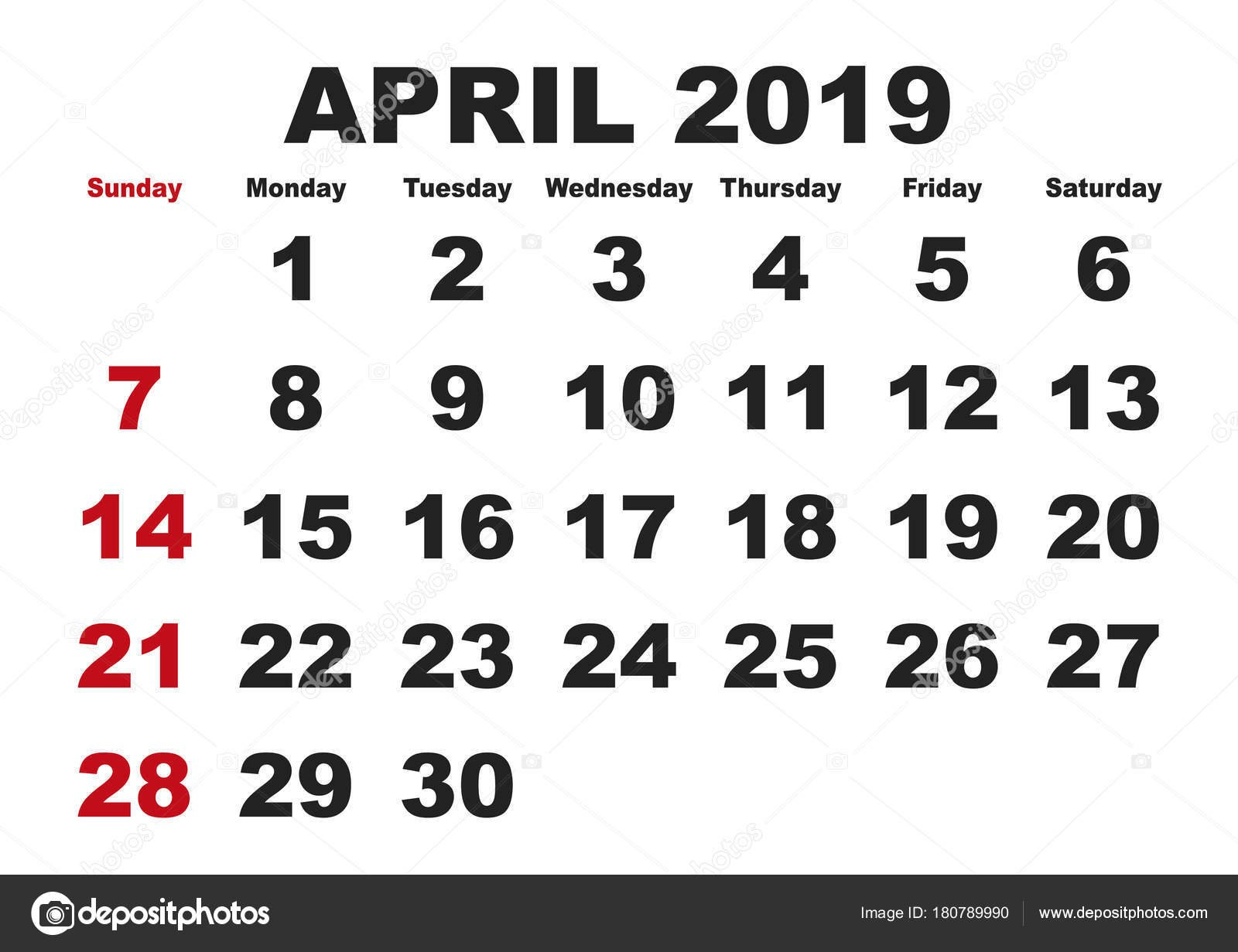 Календарь На Месяц Апреля 2019 Английский Сша — Векторное April 8 2019 Calendar