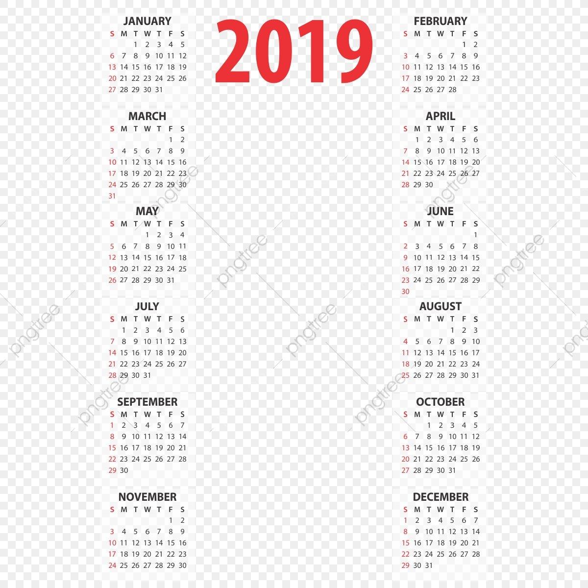Редактируемый Календарь 2019 Года 2019 Года Календарь Png Png Washu Calendar 2019