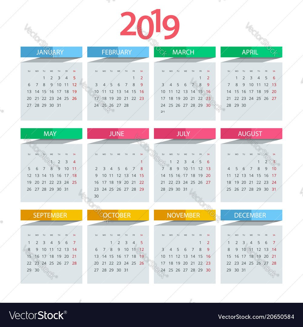 Daily, Clock & Template Vector Images (42) Design A Calendar 2019