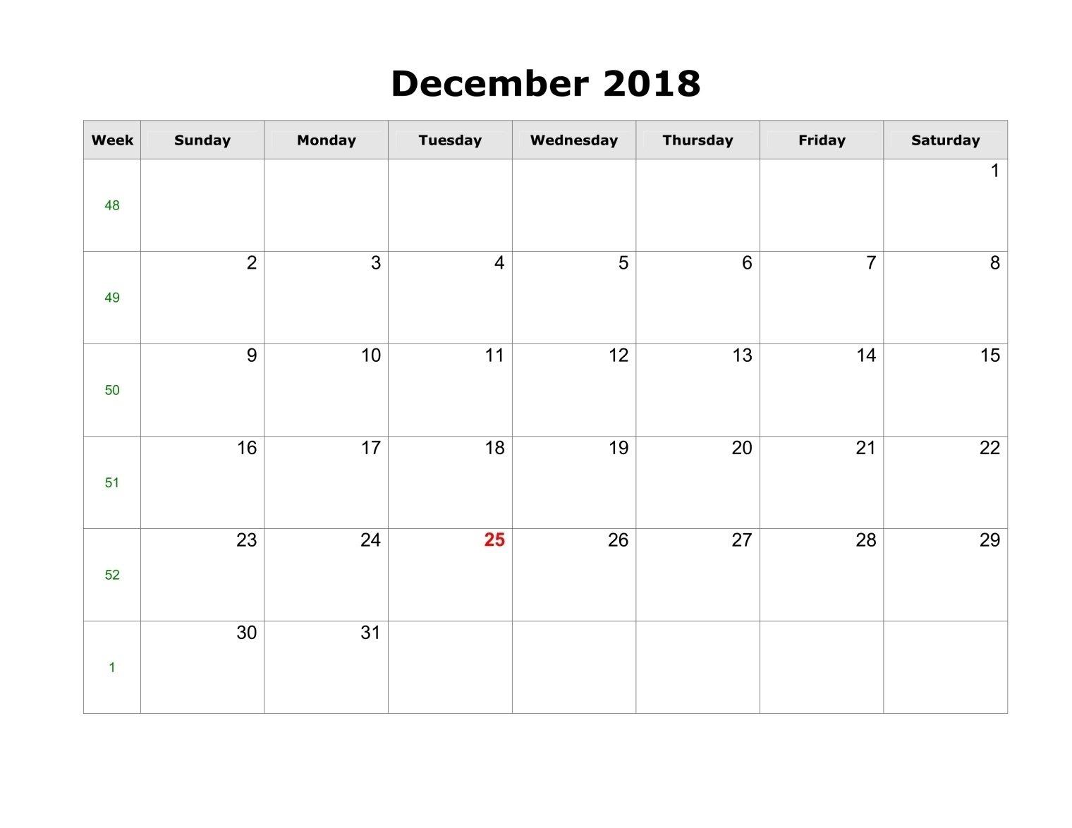 December 2018 Calendar Template Pdf, Word, Excel – Printable Calendar 2019 Template Pdf