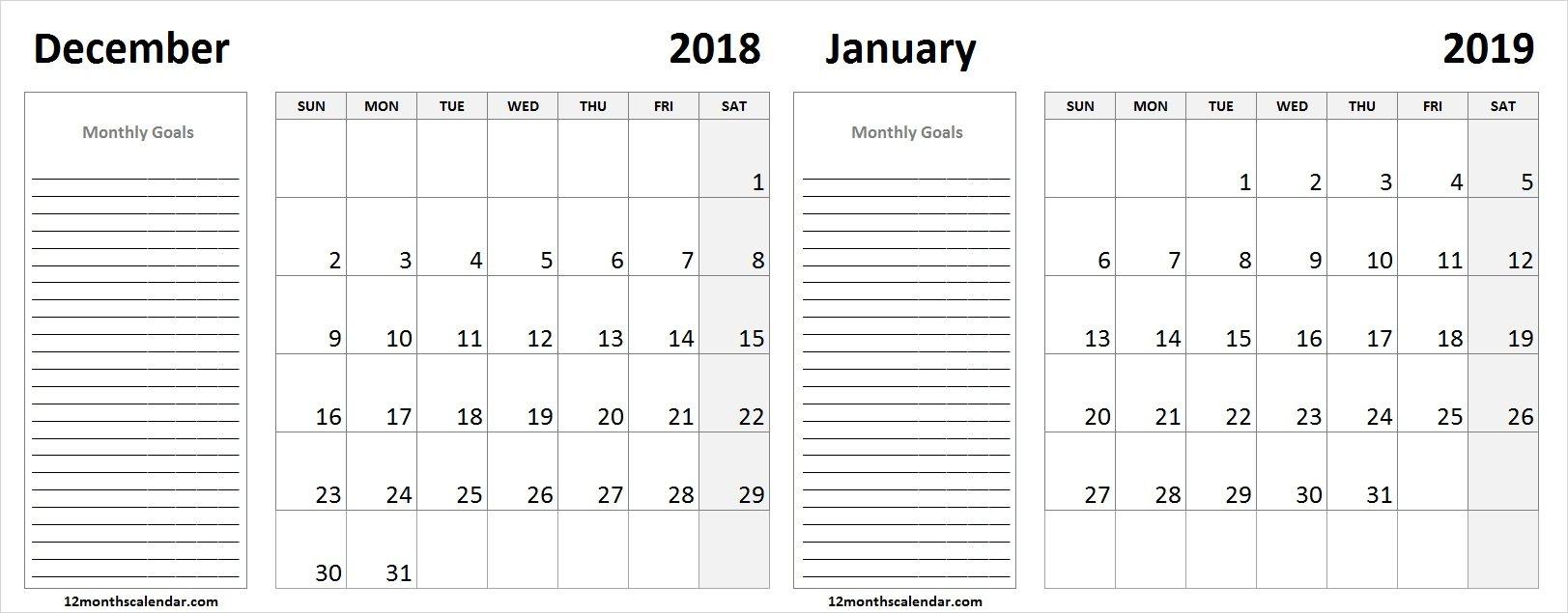 December 2018 January 2019 Calendar Monthly Goals | Monthly Calendar Calendar 2019 Goals