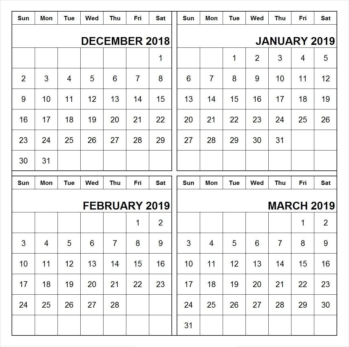December 2018 January February March 2019 Calendar Printable   555+ Calendar 2019 Jan Feb March