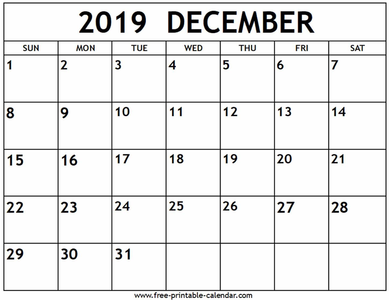 December 2019 Calendar - Free-Printable-Calendar Calendar 2019 December Printable