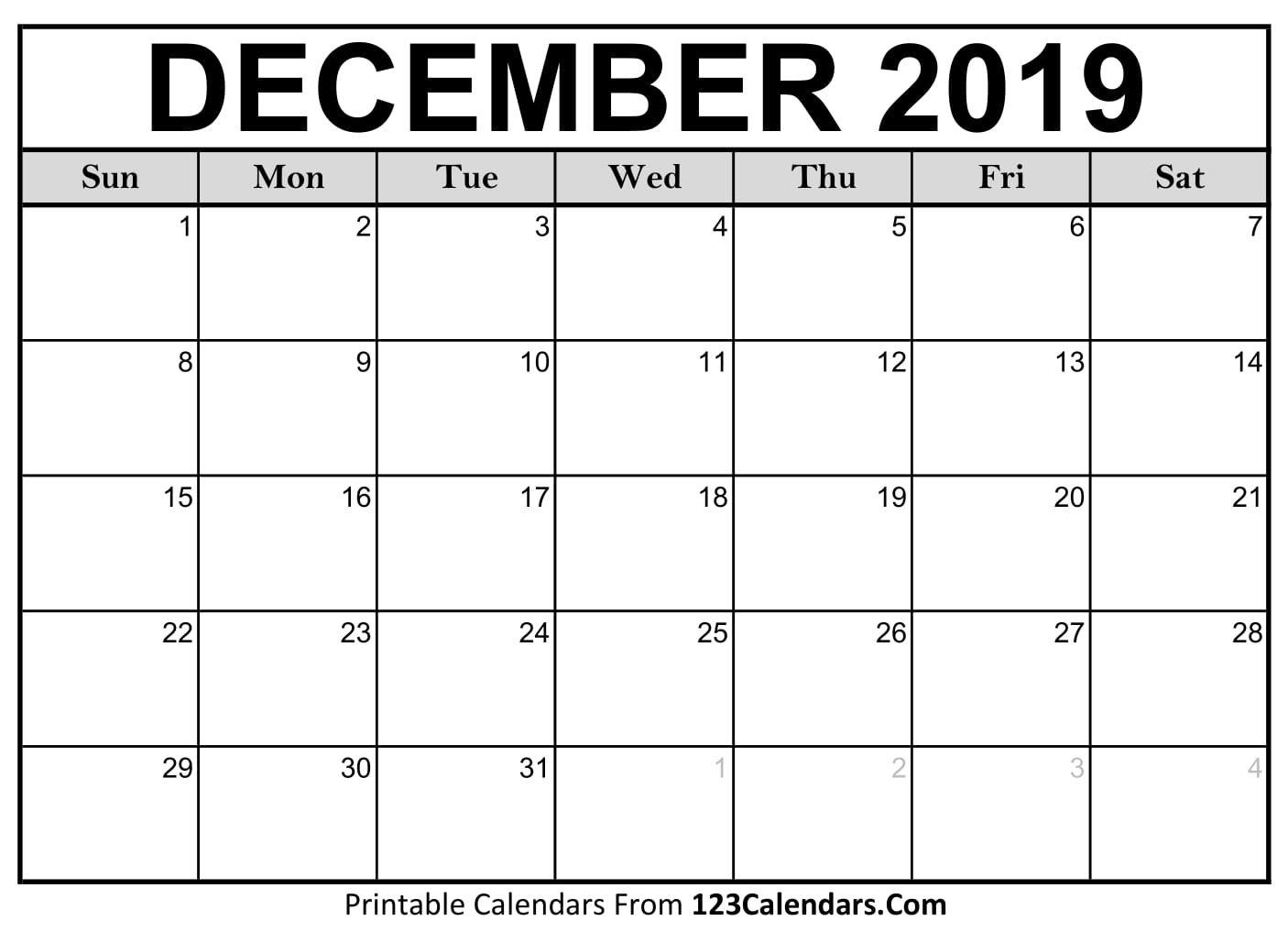 December 2019 Printable Calendar | 123Calendars Calendar 2019 December Printable