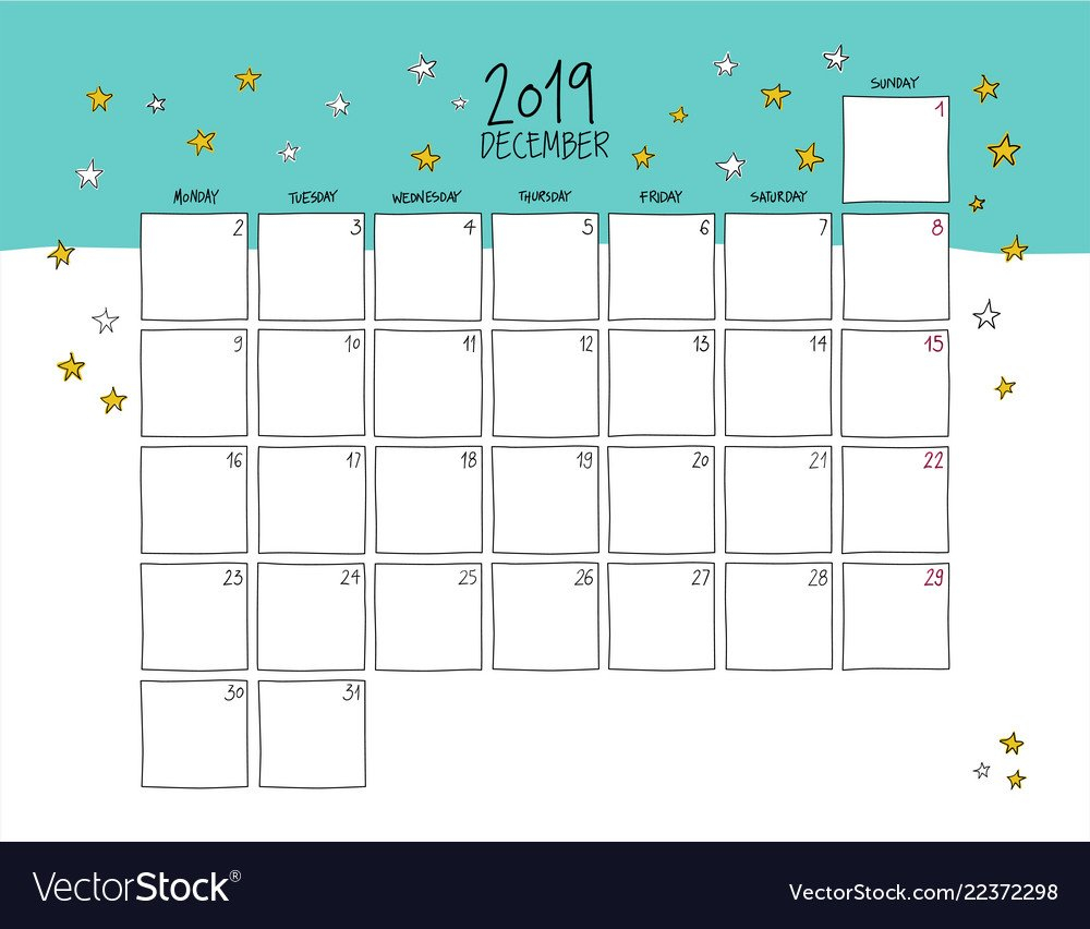 December 2019 Wall Calendar Doodle Style Vector Image Calendar 2019 Wall