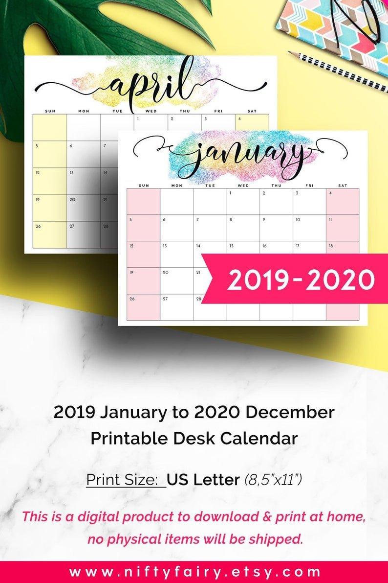 Desk Calendar 2019 Monthly Planner 2019 Wall Planner 2019   Etsy Calendar 2019 Officemax