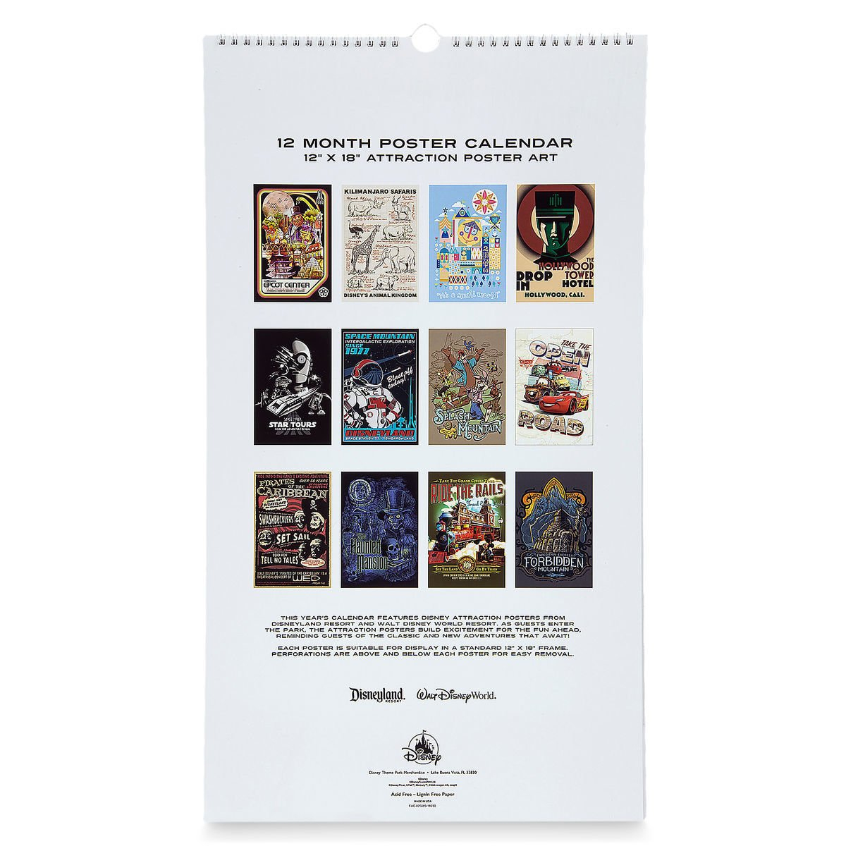 Disney Poster Calendar – 2019 Disney Parks Attraction Posters Calendar 2019 Disney