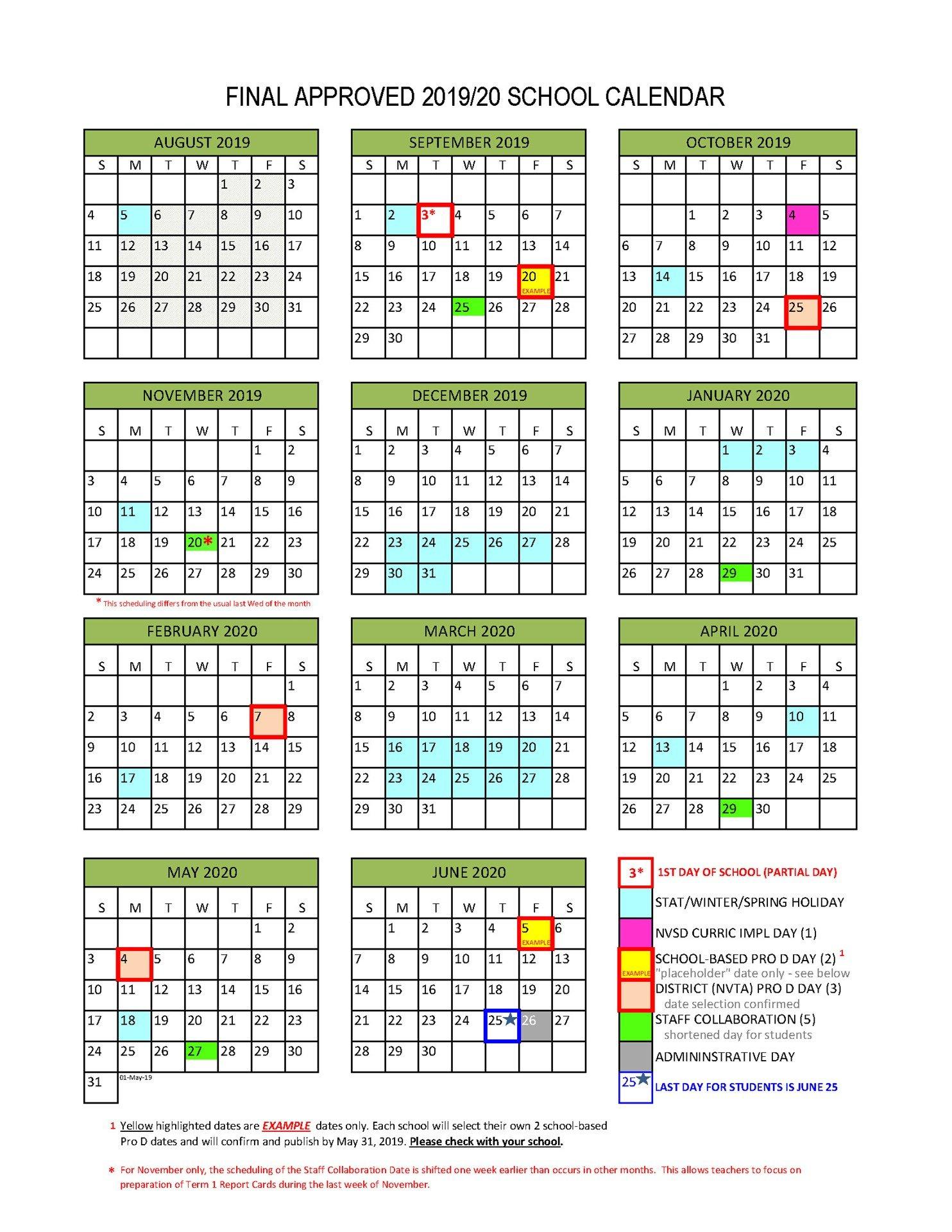District Calendar – North Vancouver School District School District 2 Calendar 2019