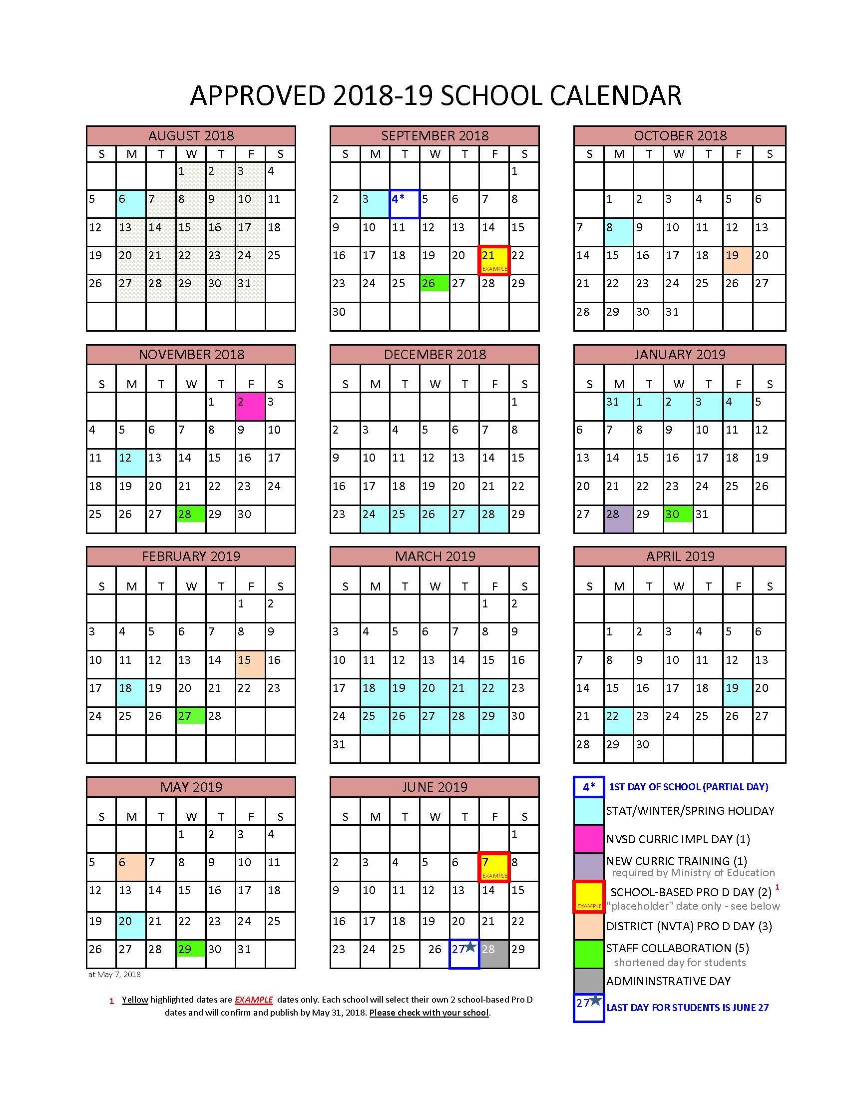 District Calendar – North Vancouver School District U Of T Calendar 2019