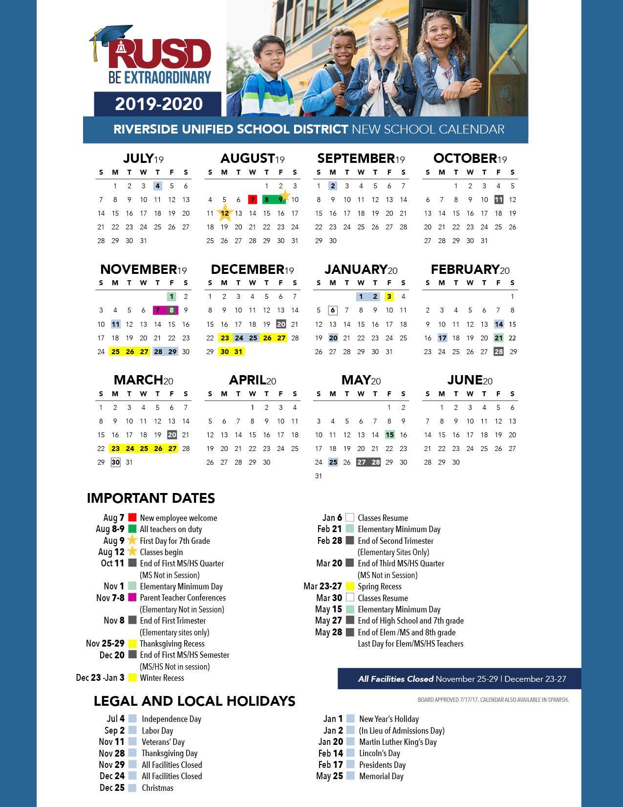 District Calendar – Riverside Unified School District Cal U Calendar 2019