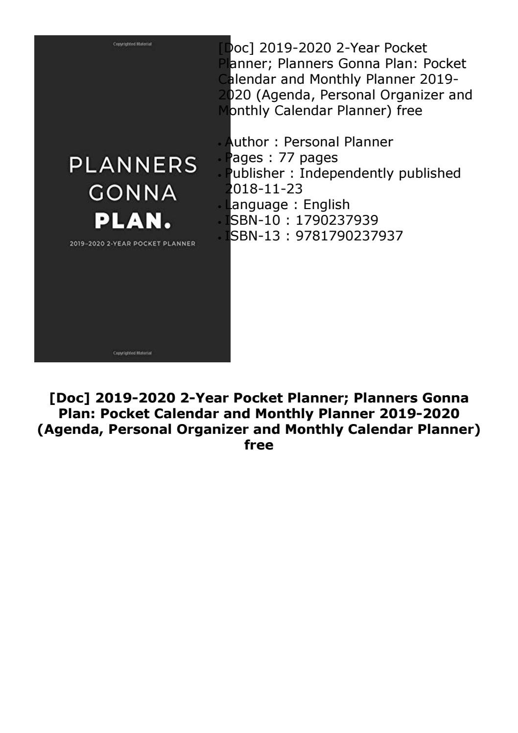 Doc] 2019 2020 2 Year Pocket Planner; Planners Gonna Plan: Pocket 2 Year Pocket Calendar 2019 And 2020