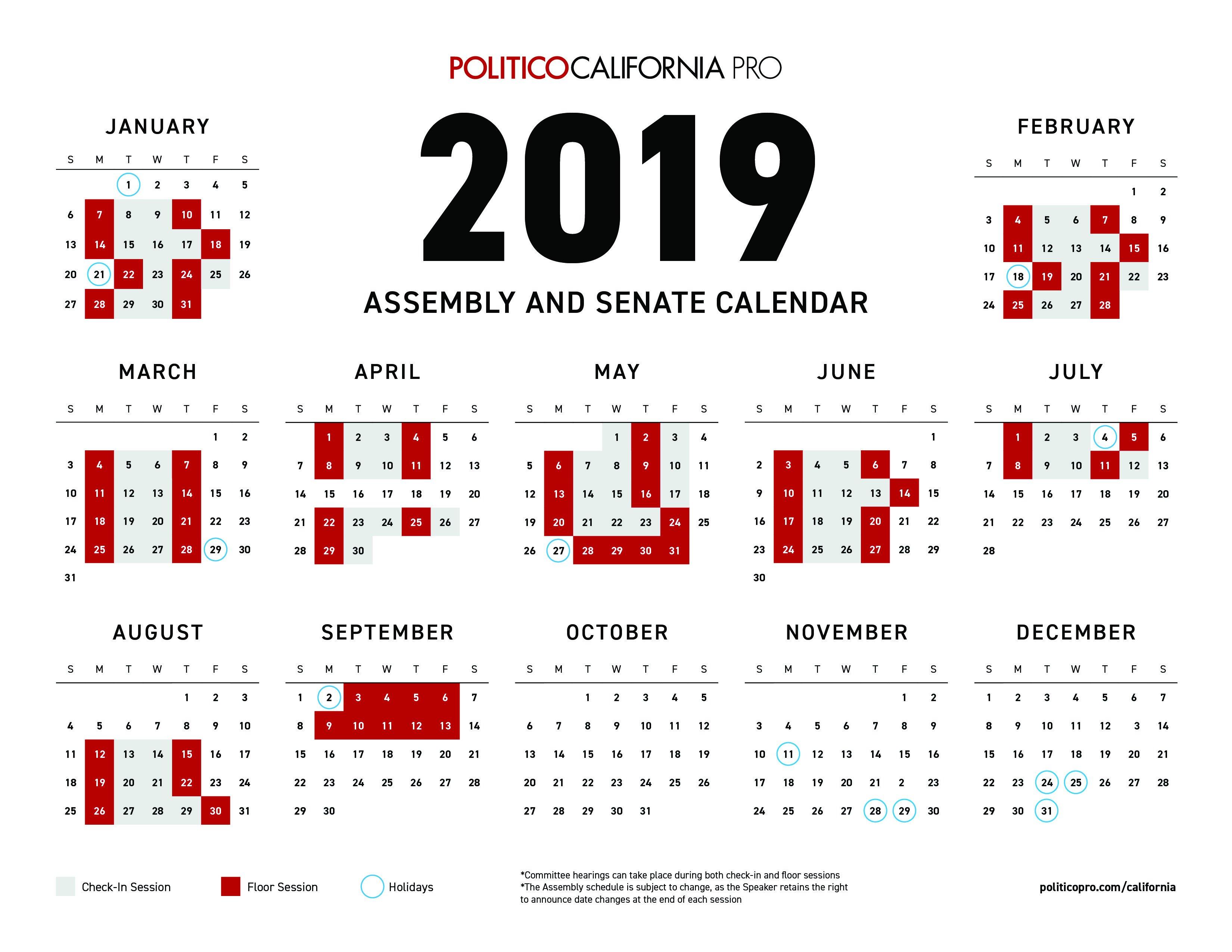 Download: 2019 Congressional Calendar   Politico Pro U.s. Senate Calendar 2019
