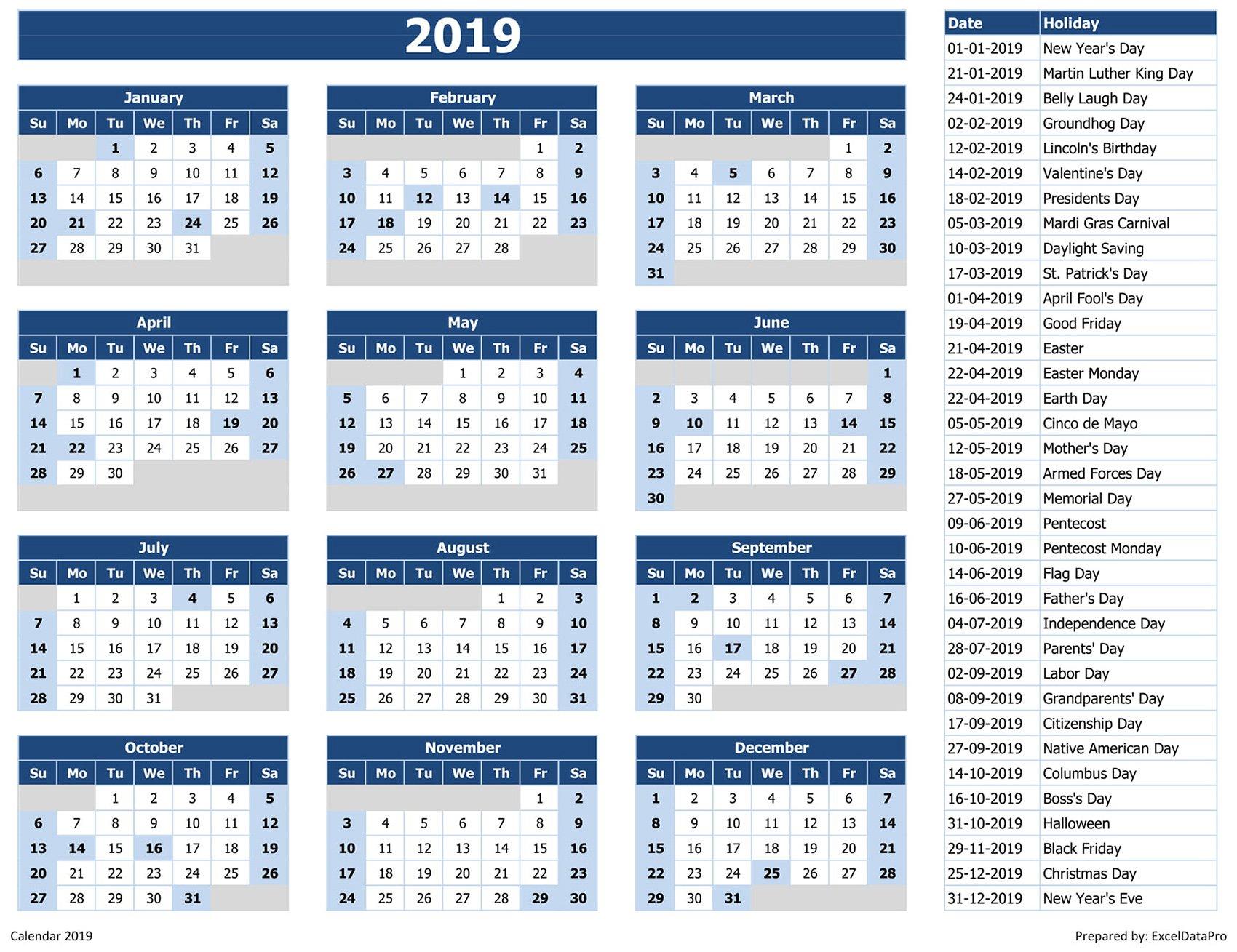 Download 2019 Yearly Calendar (Sun Start) Excel Template – Exceldatapro Calendar 2019 List