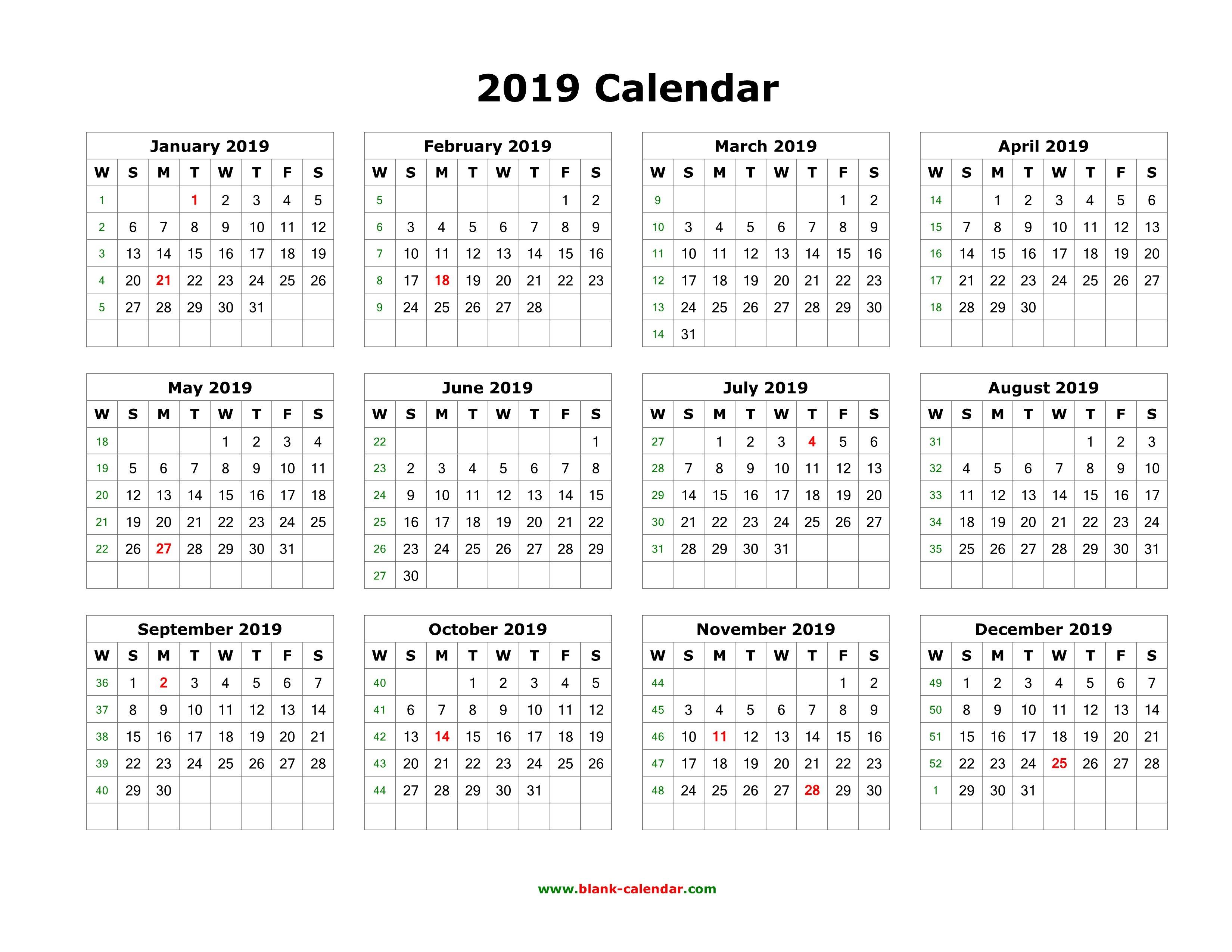 Download Blank Calendar 2019 (12 Months On One Page, Horizontal) Calendar 2019 Horizontal