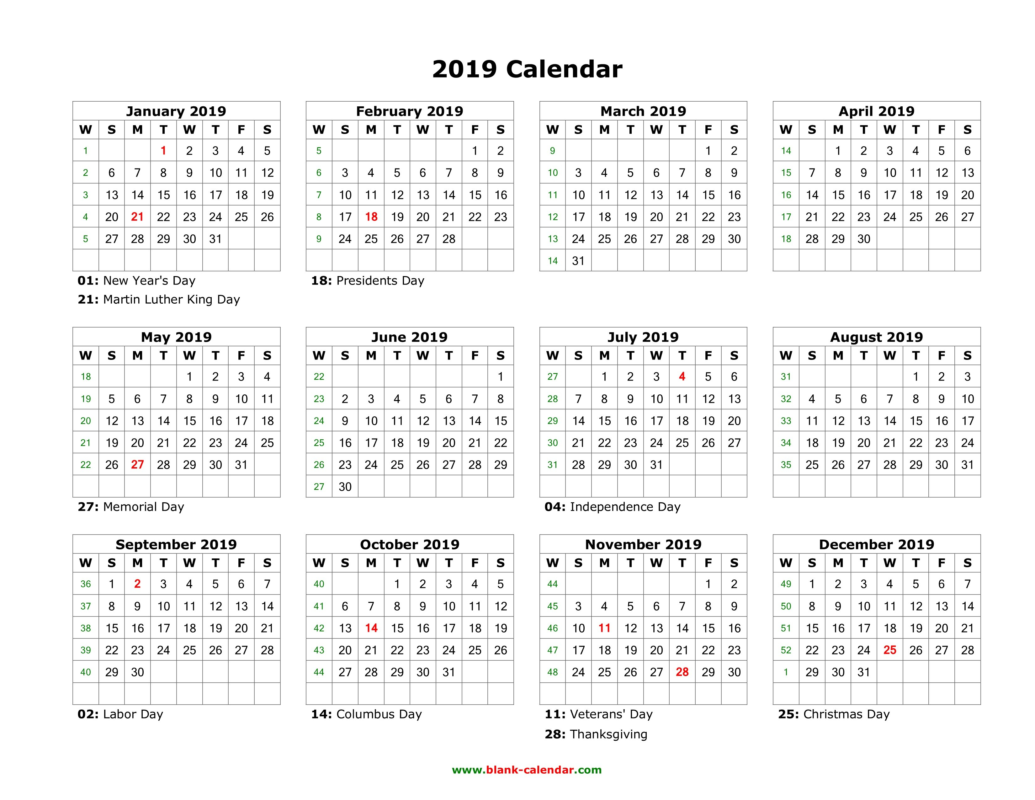 Download Blank Calendar 2019 With Us Holidays (12 Months On One Page Calendar 2019 Presidents Day