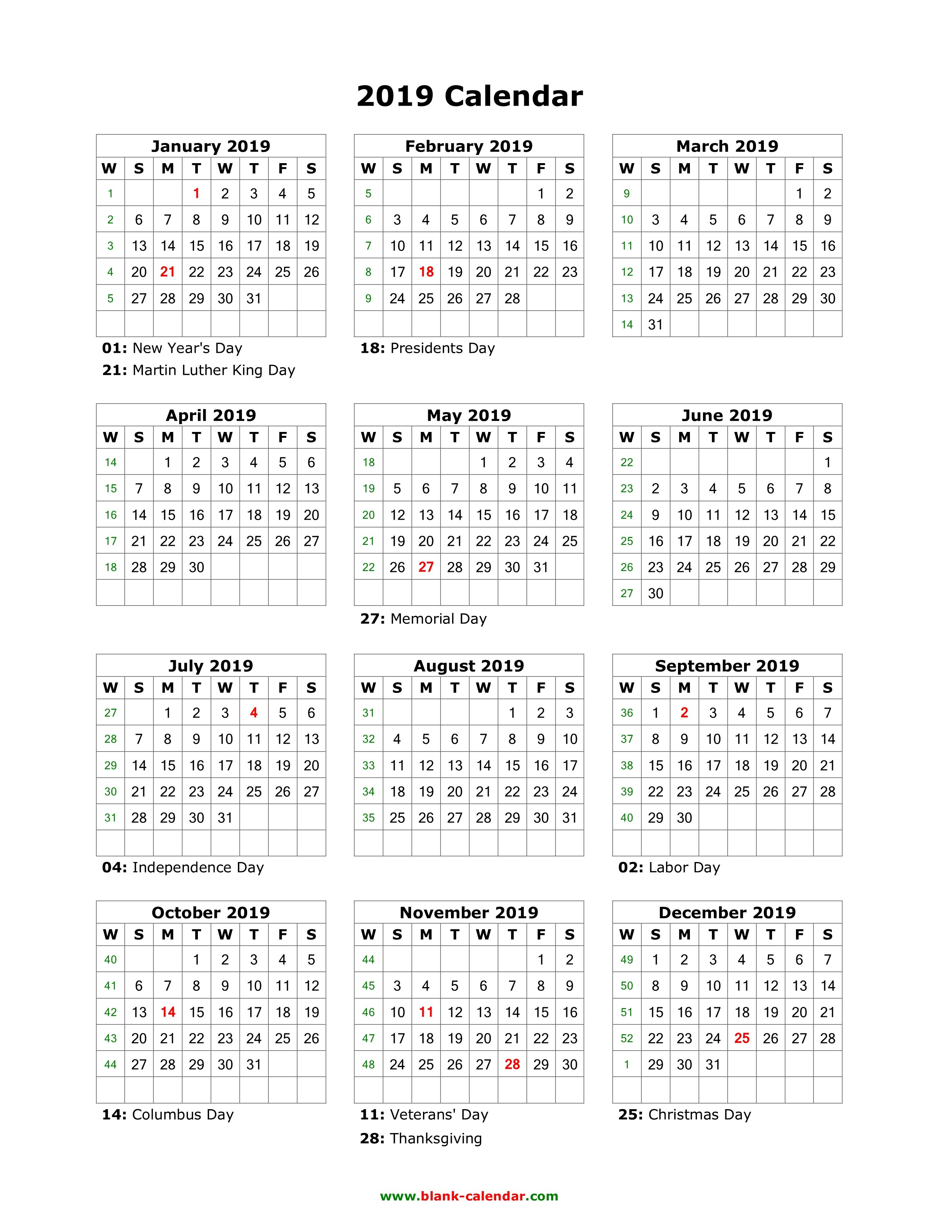 Download Blank Calendar 2019 With Us Holidays (12 Months On One Page Calendar 2019 With Holidays Usa Printable