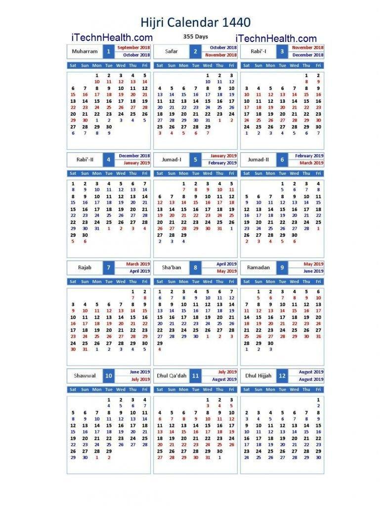 Download Calendar 2019 And Islamic Calendar 2019 / 1440 Islamic Calendar 2019 Hijri