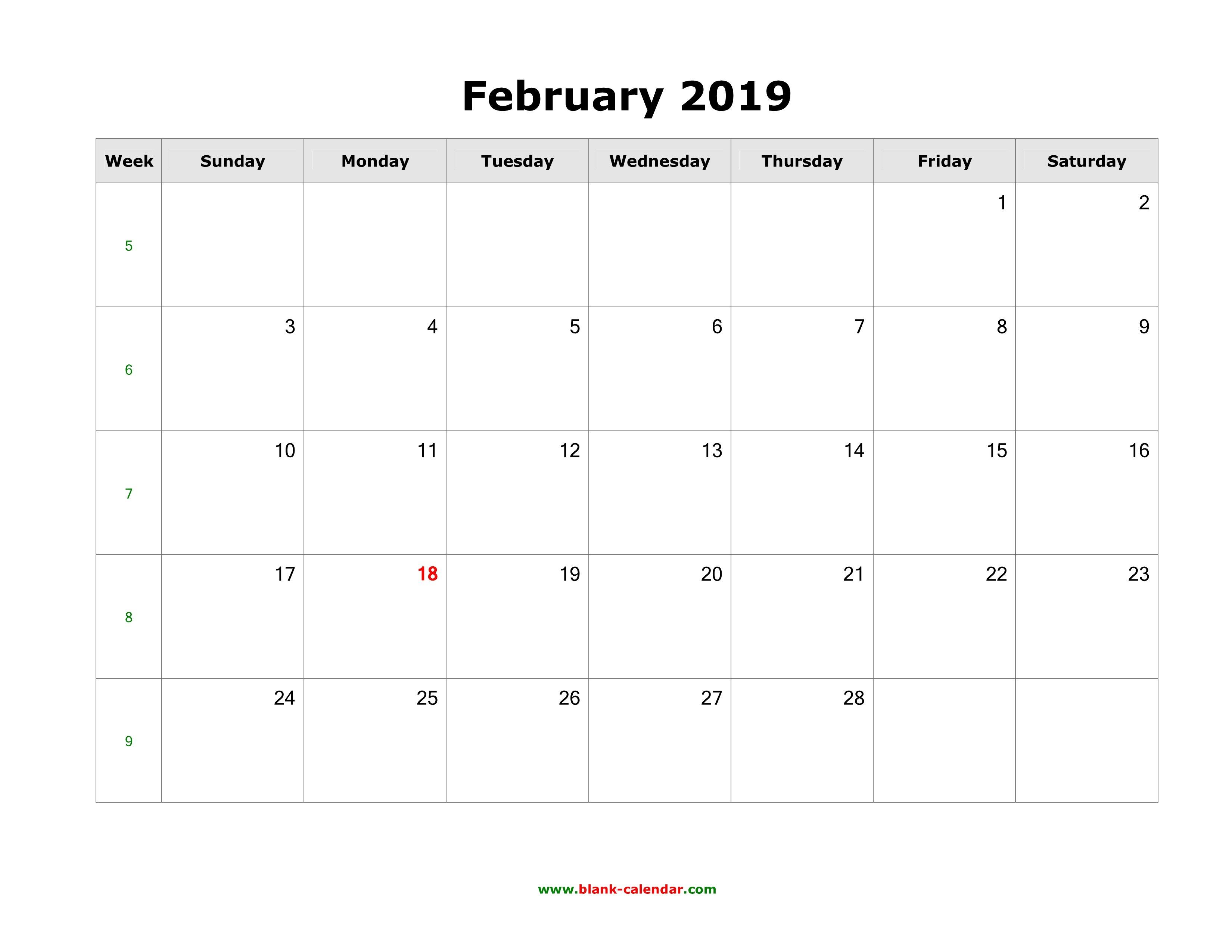 Download February 2019 Blank Calendar (Horizontal) Calendar Of 2019 February