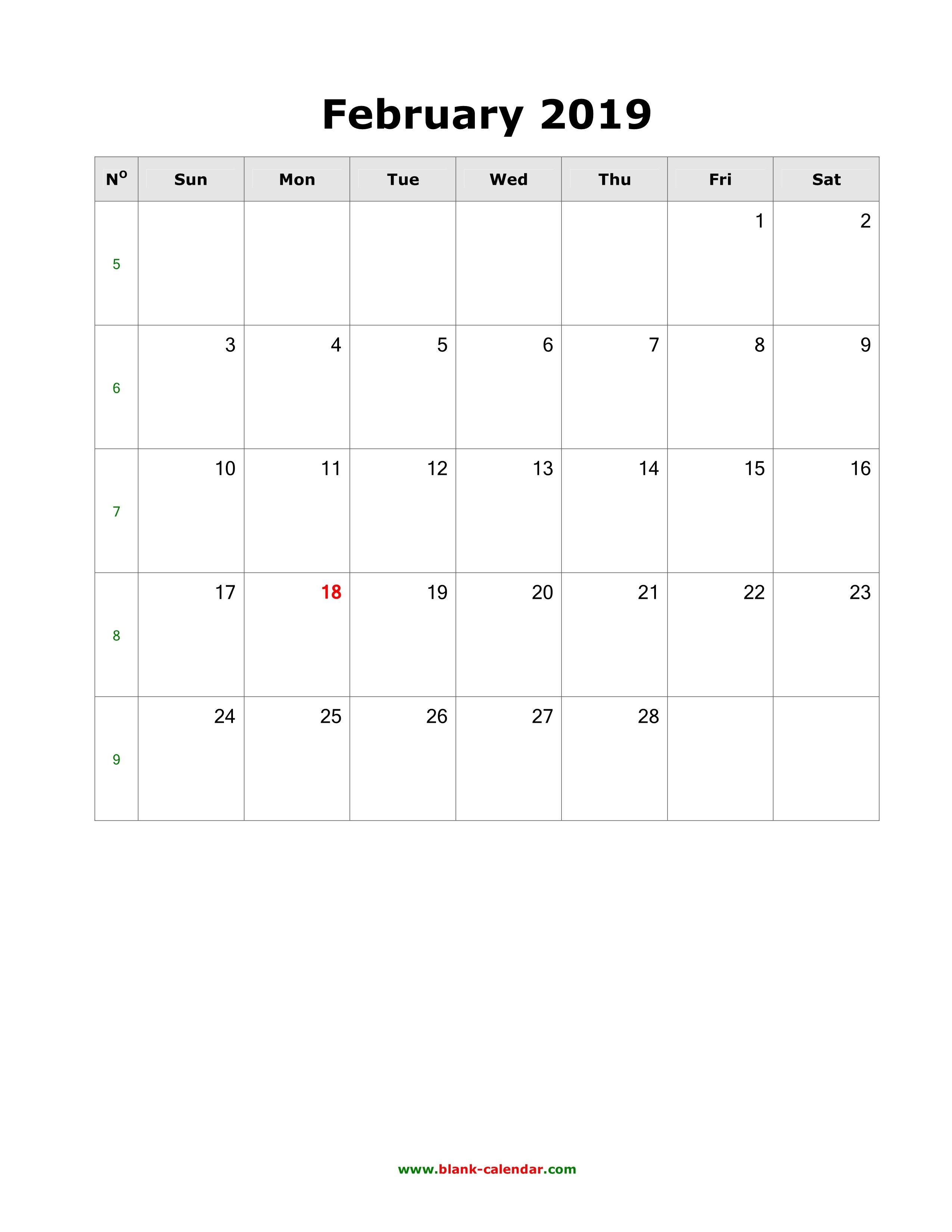 Download February 2019 Blank Calendar (Vertical) Calendar 2019 Portrait