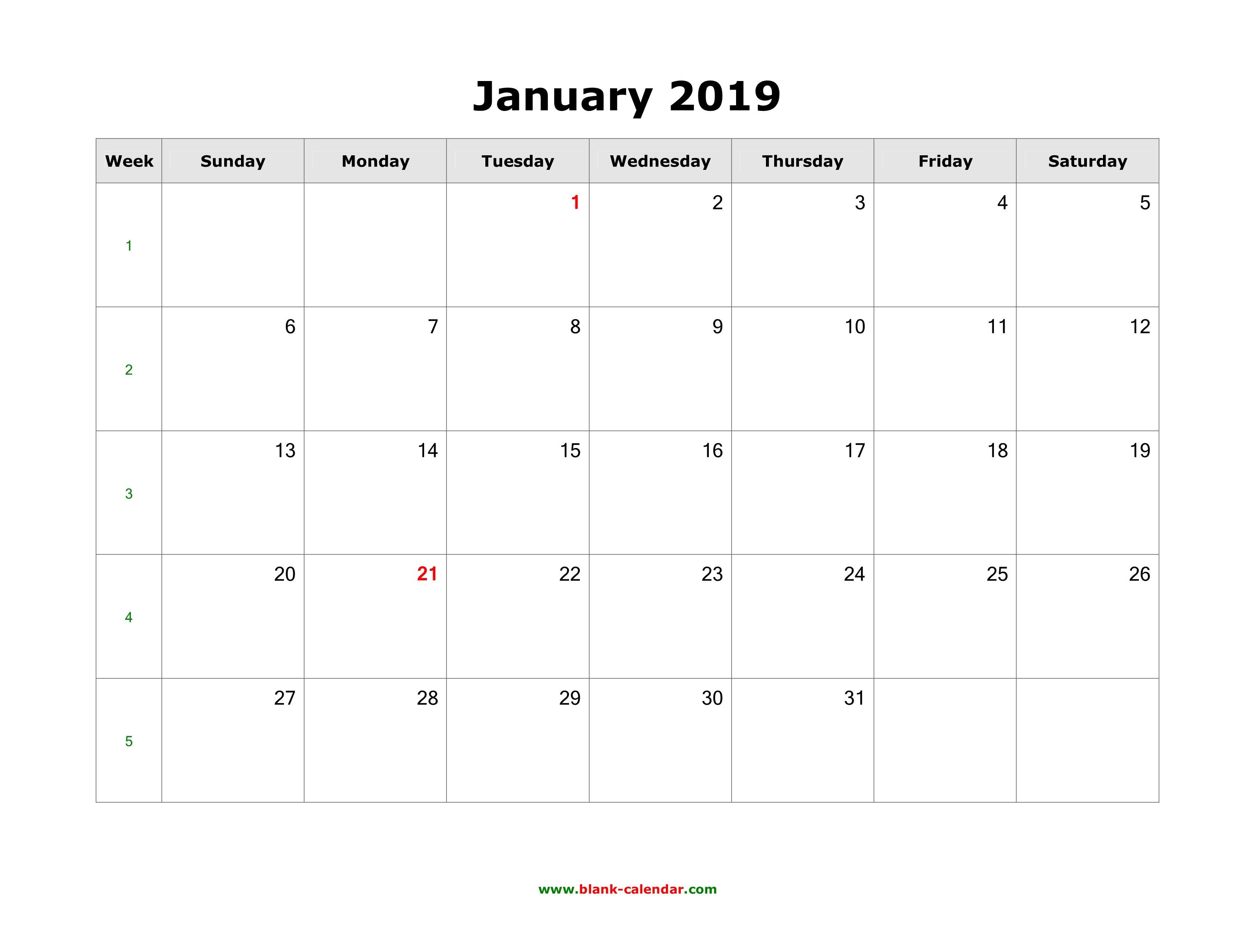 Download January 2019 Blank Calendar (Horizontal) Calendar 2019 Printable January