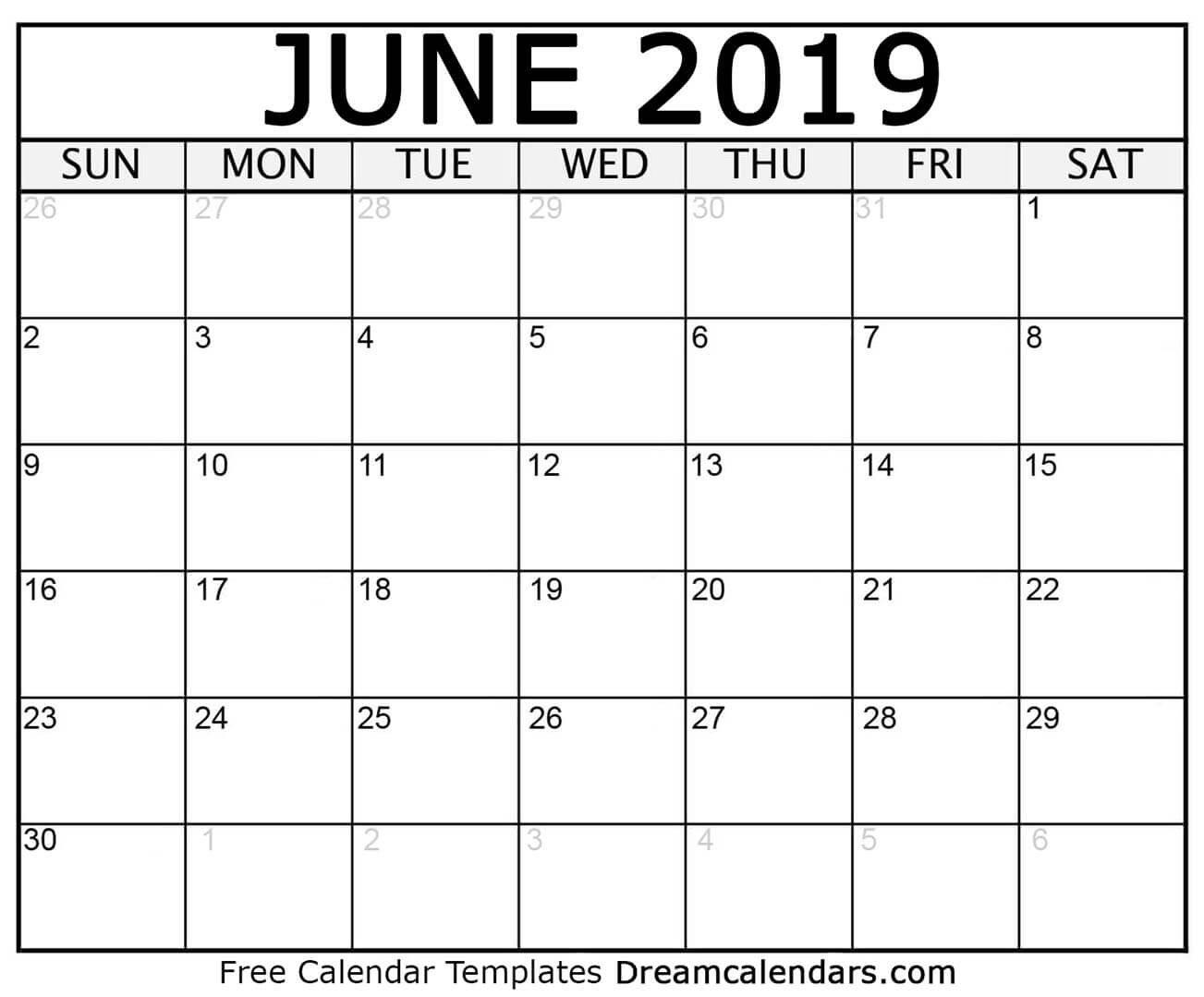 Dream Calendars – Make Your Calendar Template Blog: Blank Printable Calendar 2019 Blog