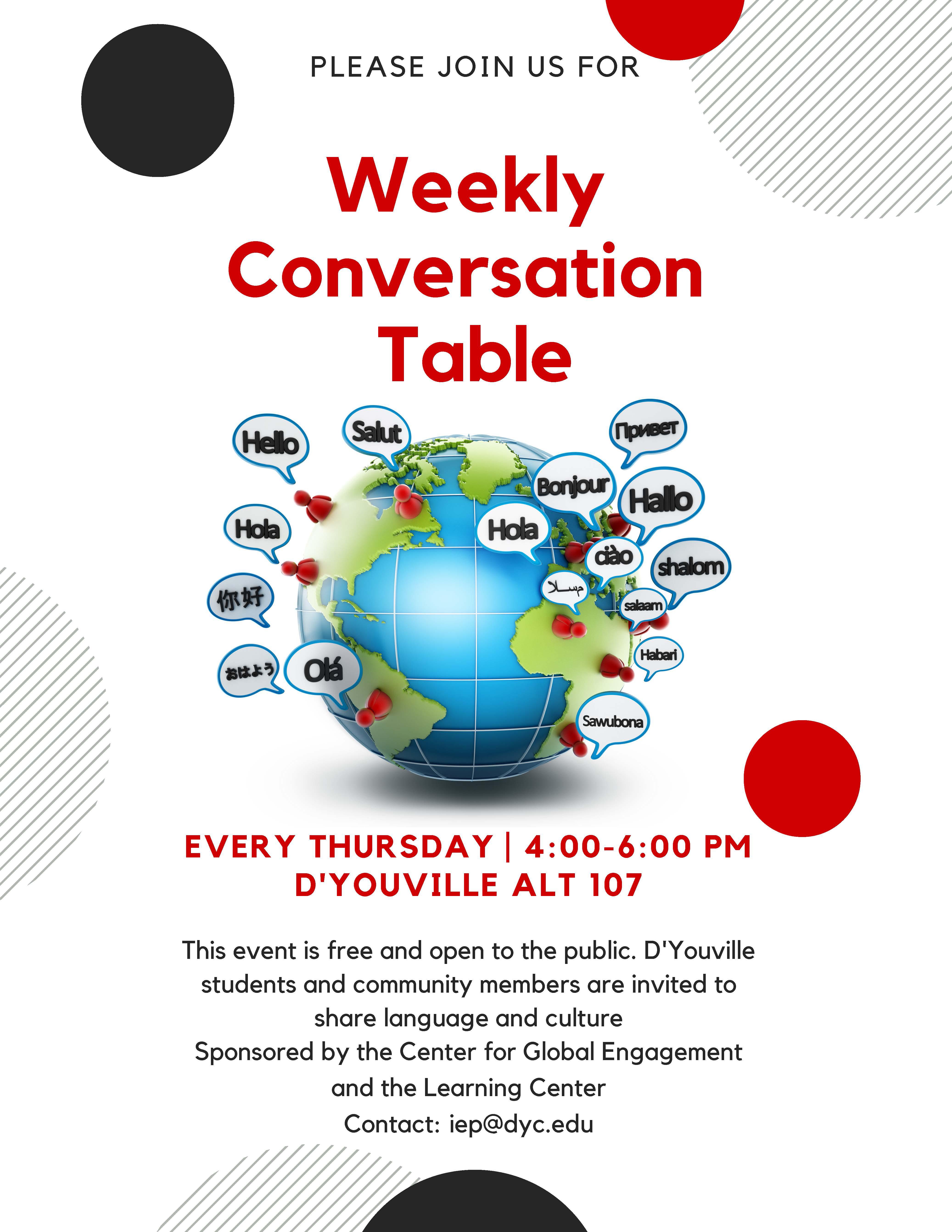 D'youville Events Calendar – Weekly Conversation Table D'youville Calendar 2019