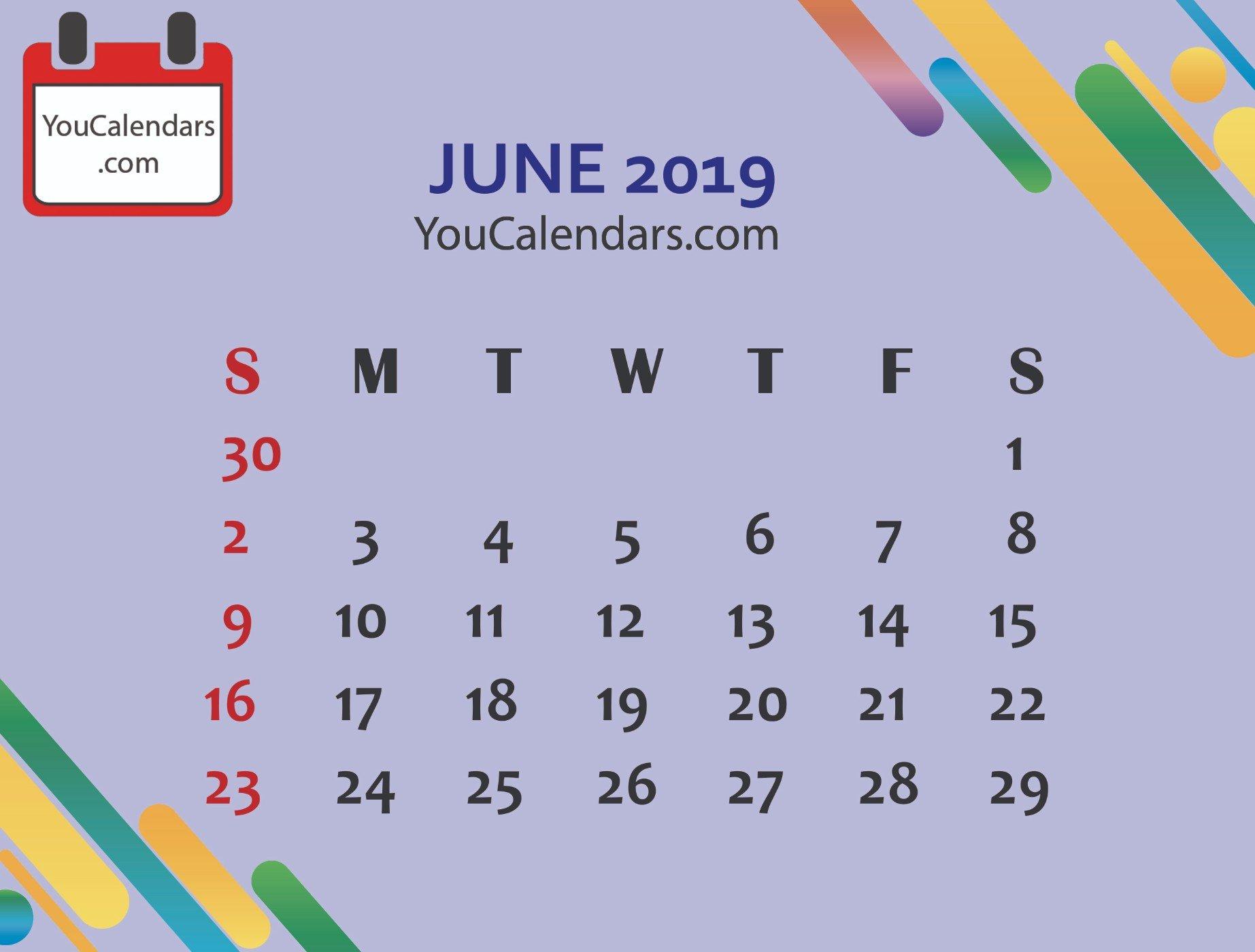 ✅Download June Calendar Printable Template Blank June 2019 Calendar June 9 2019 Calendar