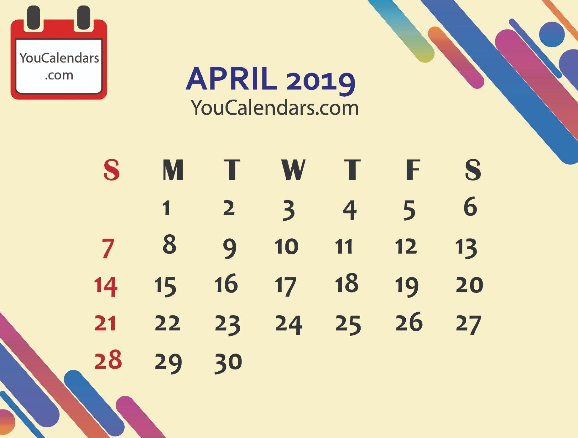 ✅Free April 2019 Calendar Printable Template – You Calendars April 6 2019 Calendar