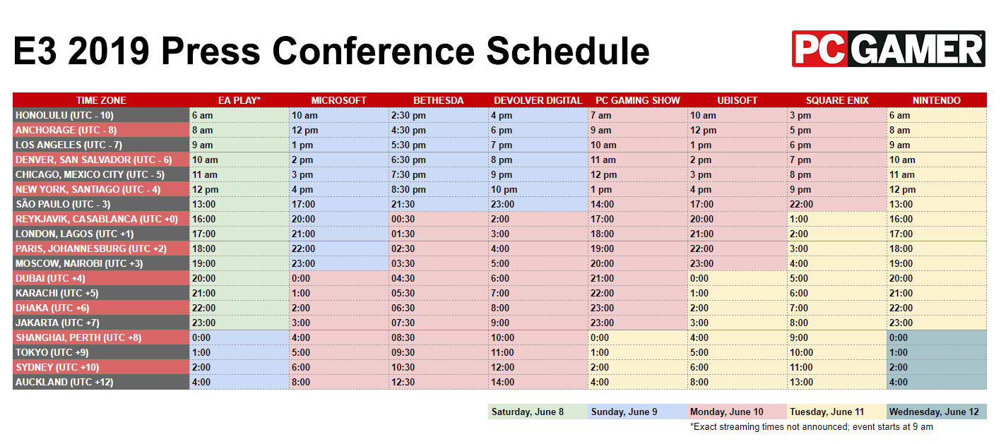 E3 2019 Schedule – Every Press Conference Livestream Date And Time 4J Calendar 2019