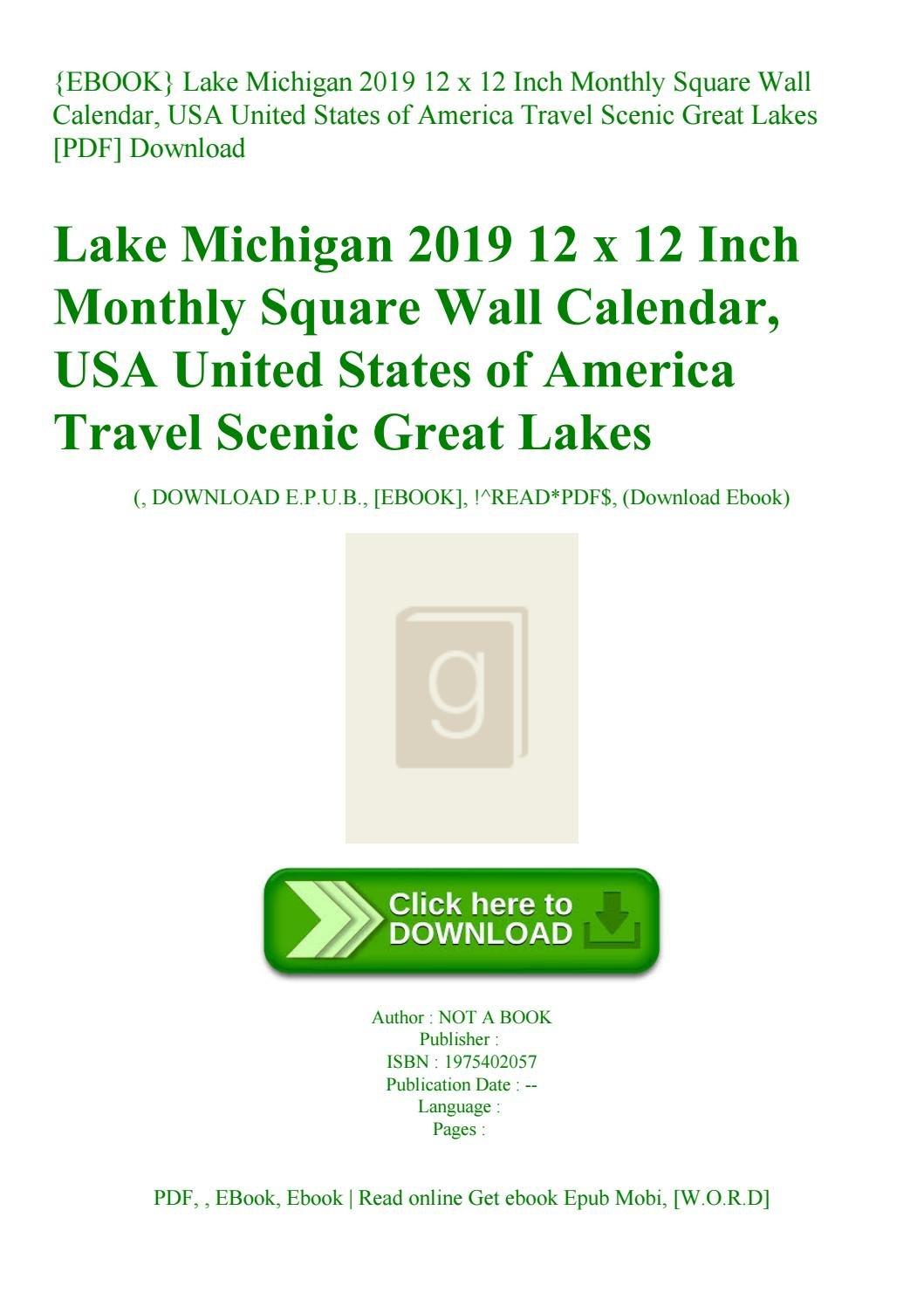 Ebook} Lake Michigan 2019 12 X 12 Inch Monthly Square Wall Calendar U Michigan Calendar 2019
