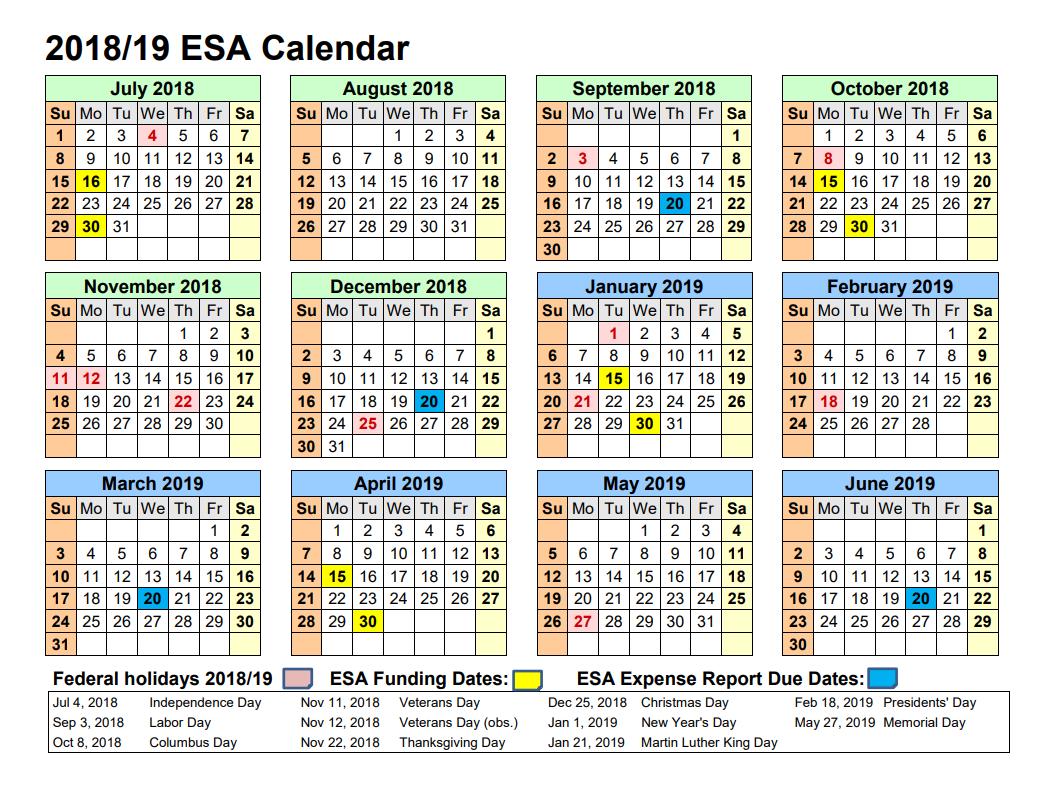 Empowerment Scholarship Account Program – Arizona Department Of Calendar 2019 Dates
