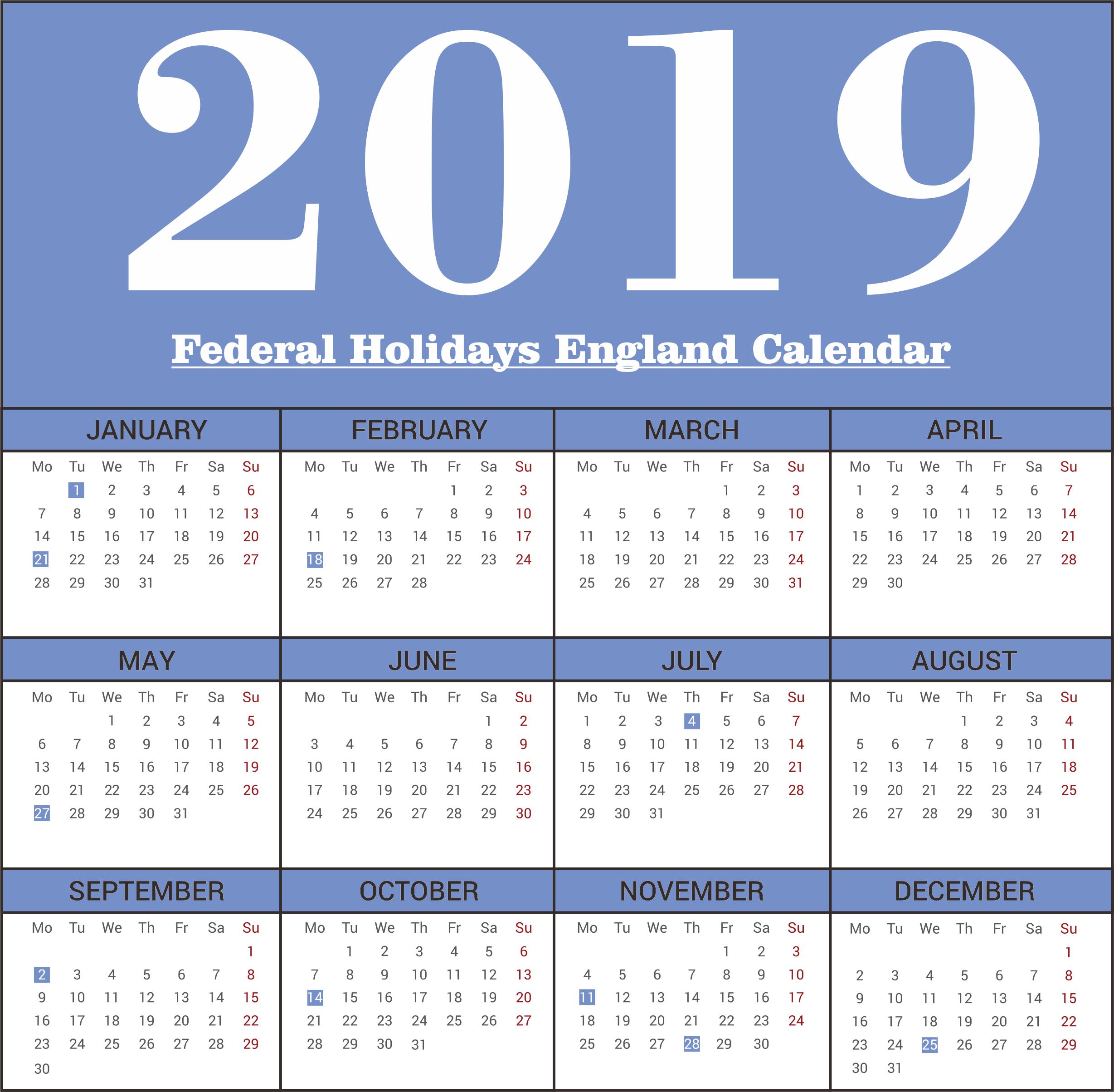 England Federal 2019 Holidays Calendar Printable   Free Desk Calendar 2019 England