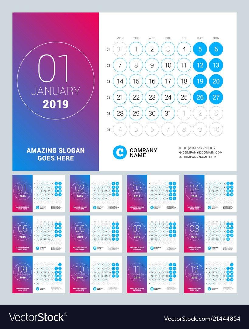 Esk Calendar For 2019 Year Set Of 12 Pages Design Vector Image Design A Calendar 2019