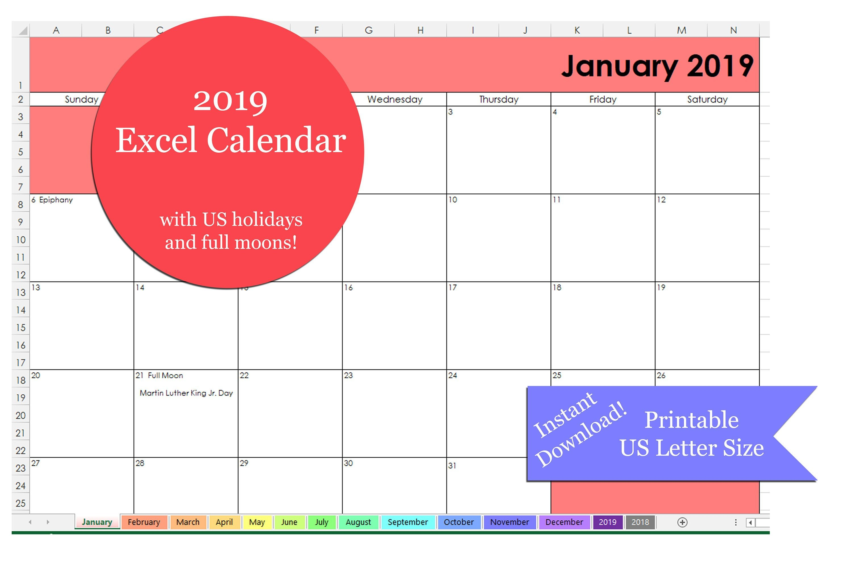 Excel 2019 Calendar Printable   Printable 2019 Excel Calendar Template    2019 Excel Calendar   Us Letter Size   Printable Excel Template Calendar 2019 Excel Pakistan