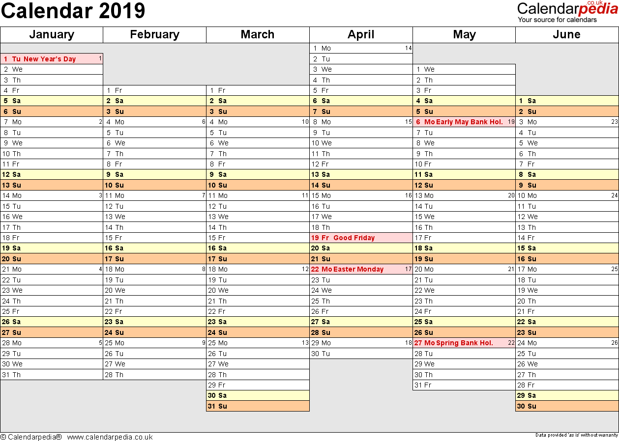 Excel Calendar 2019 (Uk): 16 Printable Templates (Xlsx, Free) 4 4 5 Calendar 2019 Excel