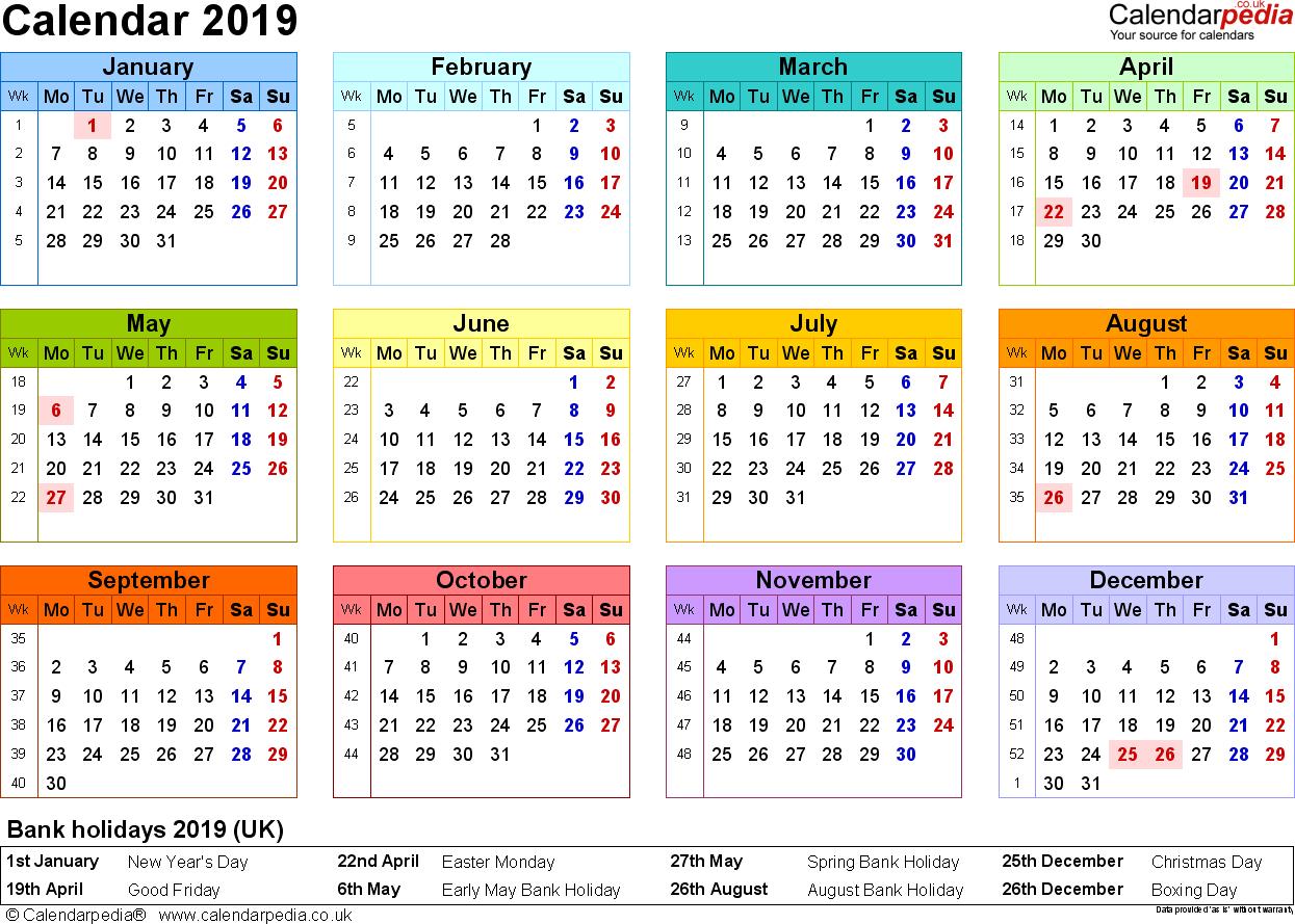 Excel Calendar 2019 (Uk): 16 Printable Templates (Xlsx, Free) Calendar 2019 England