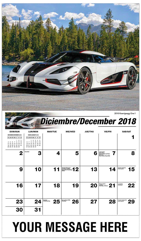 Exotic Cars – 2019 Promotional Calendar (Spanish English Bilingual) Cars 3 Calendar 2019