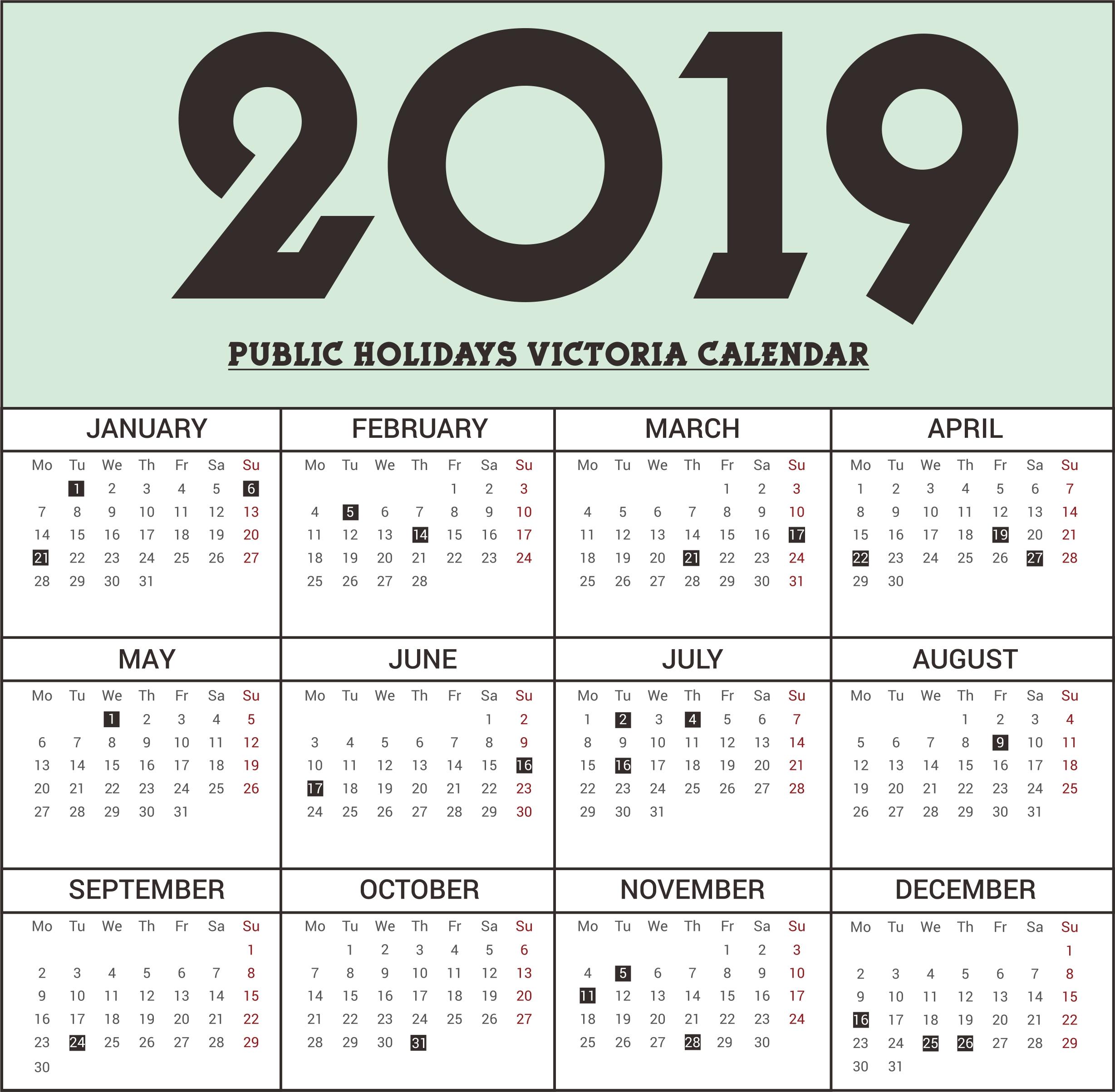 Extraordinary School Calendar Vic 2019 • Printable Blank Calendar Calendar 2019 Victoria