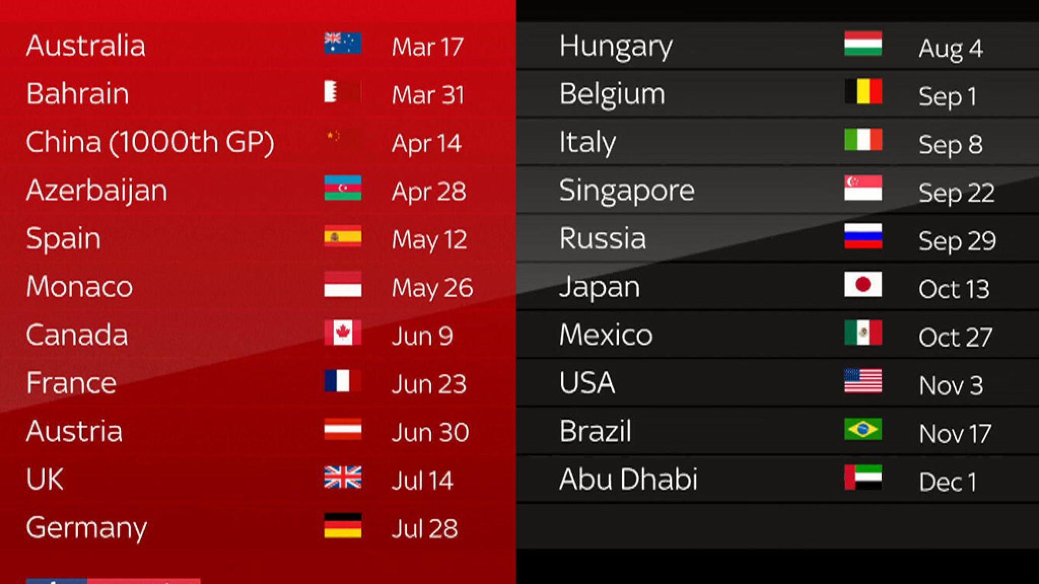 F1 2019 Schedule: 21 Race Calendar And December Finish | F1 News U Miami Calendar 2019