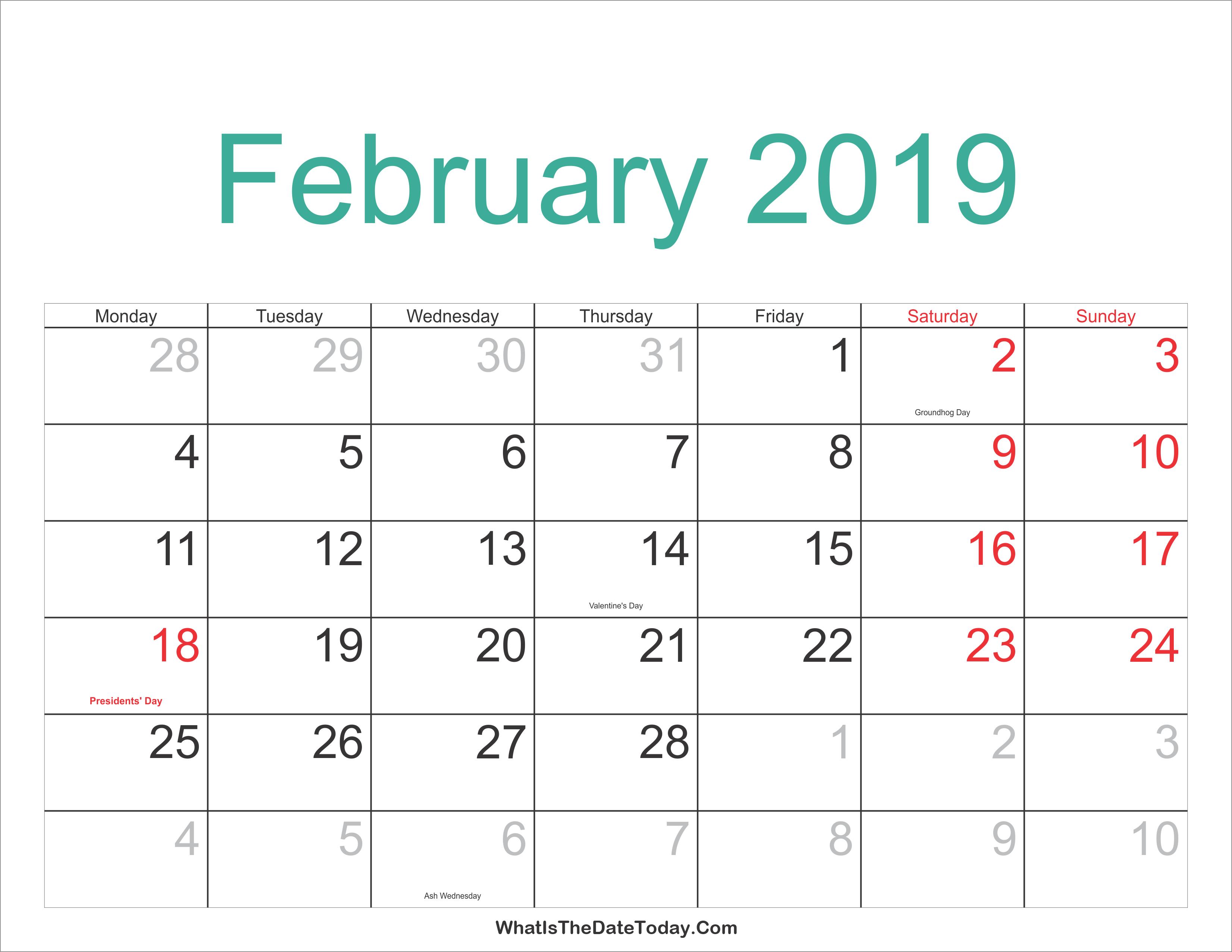 Feb 2019 Calendar Holidays – Free Printable Calendar Templates Blank Feb 7 2019 Calendar