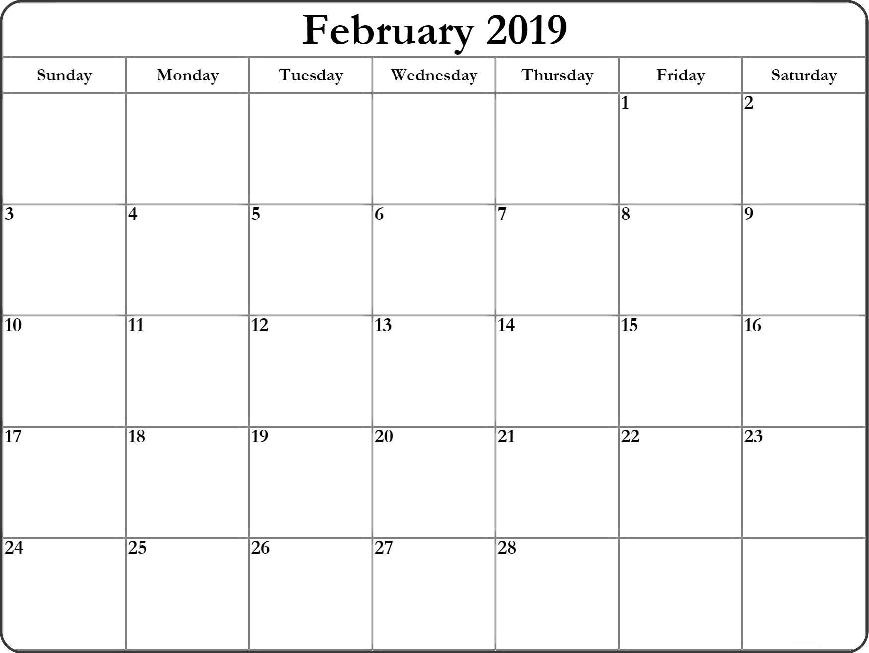 February 2019 Blank Editable Calendar – Free Printable Calendar Calendar 2019 Blank