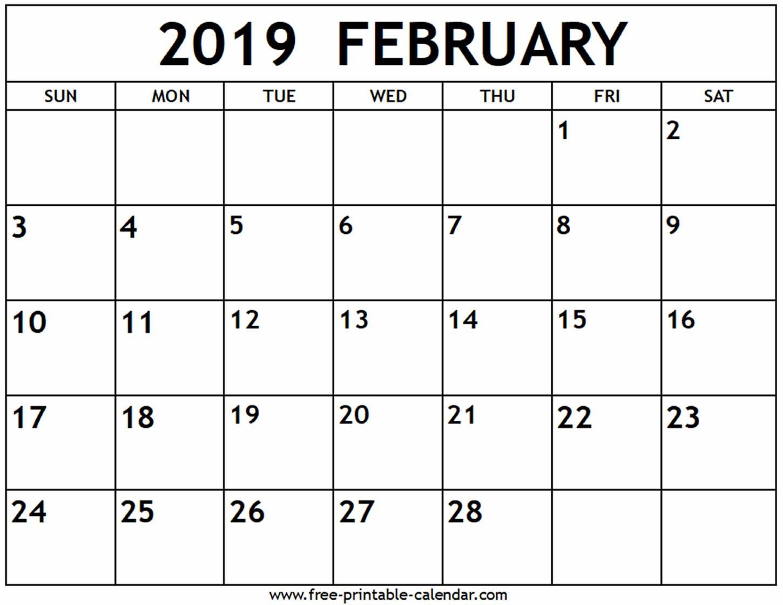 February 2019 Calendar – Free Printable Calendar Calendar Of 2019 February