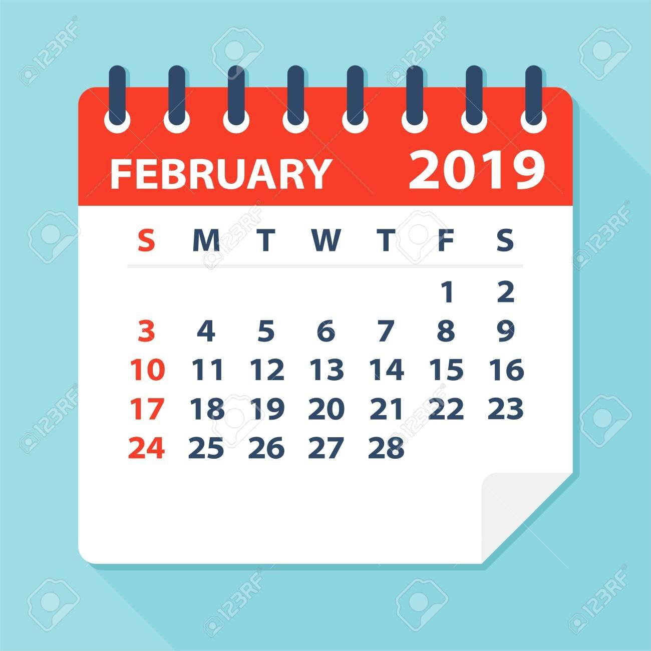 February 2019 Calendar Leaf - Illustration. Vector Graphic Page Calendar 2019 Clipart