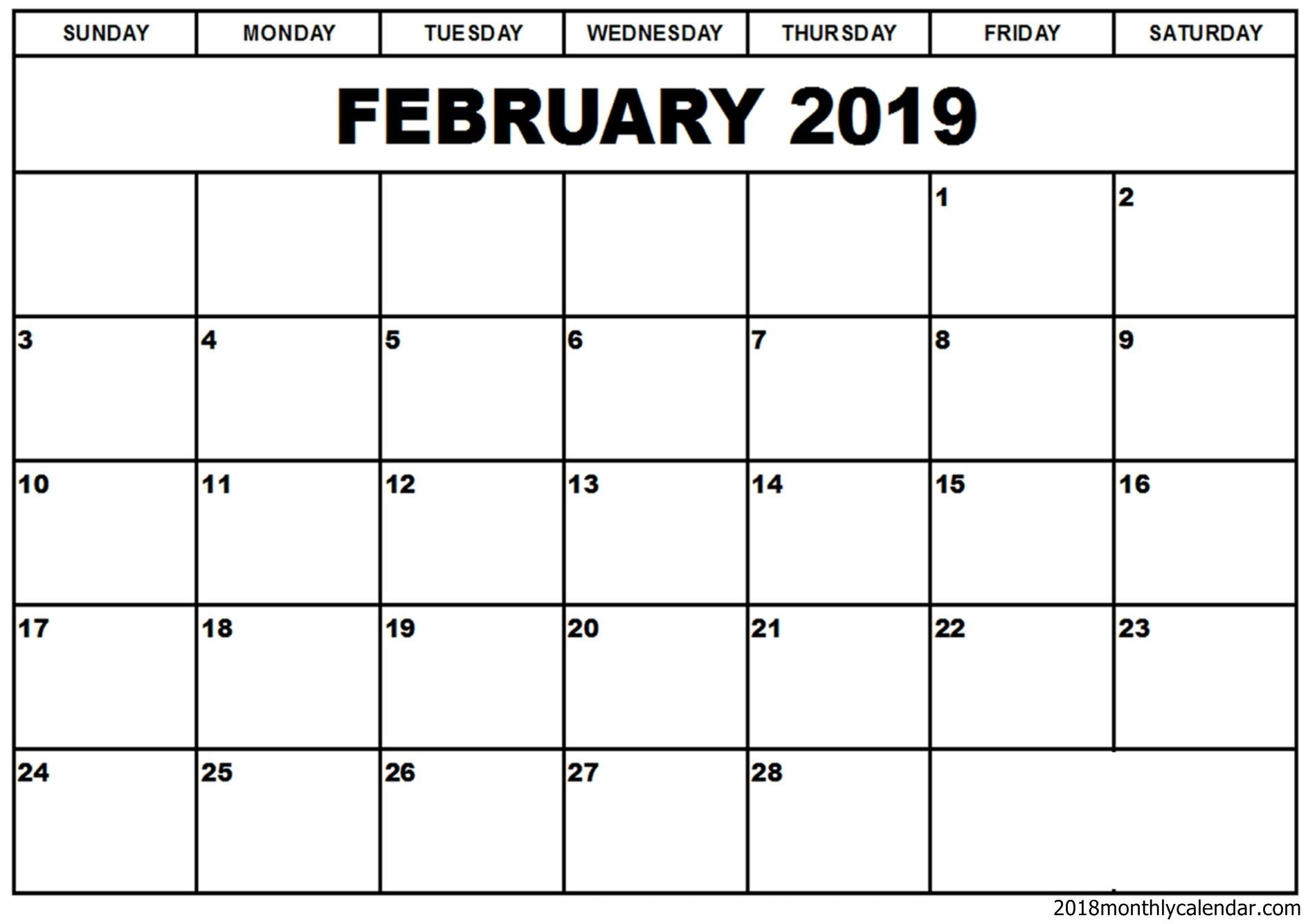 February 2019 Calendar Word Template   Free Printable Monthly Calendar 2019 Template Word