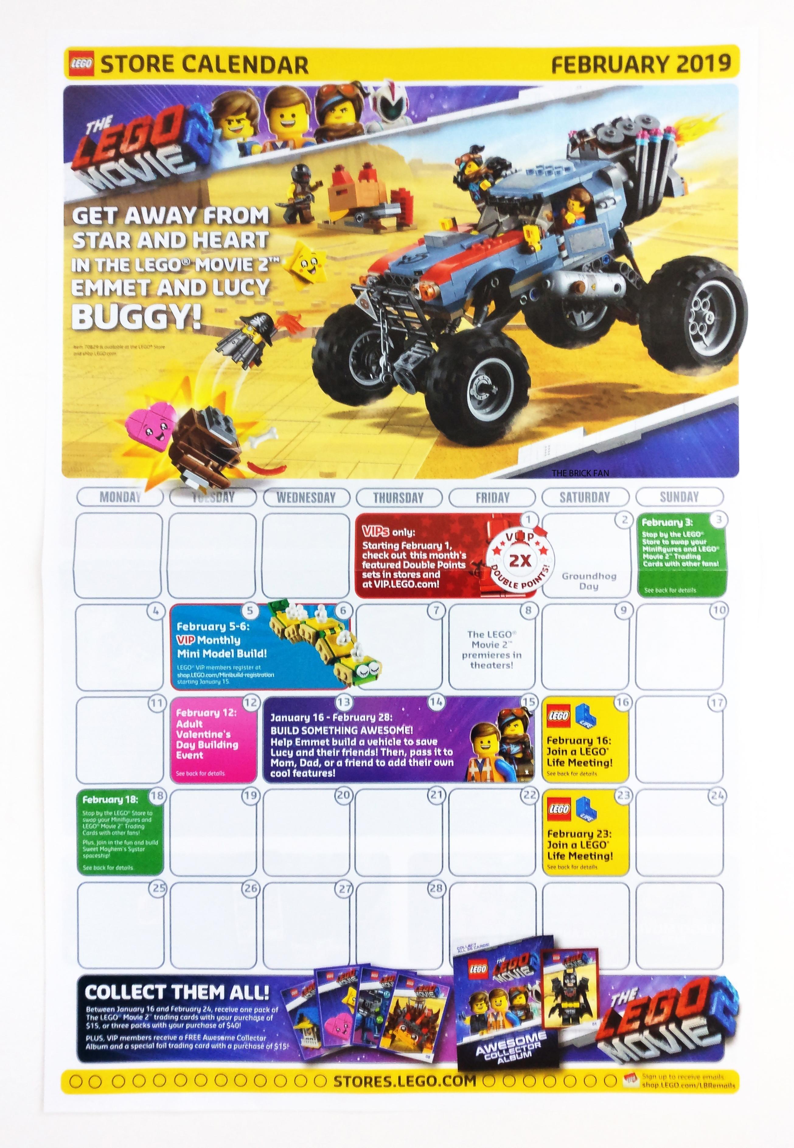 February 2019 Lego Store Calendar : Lego Calendar 2019 In Stores