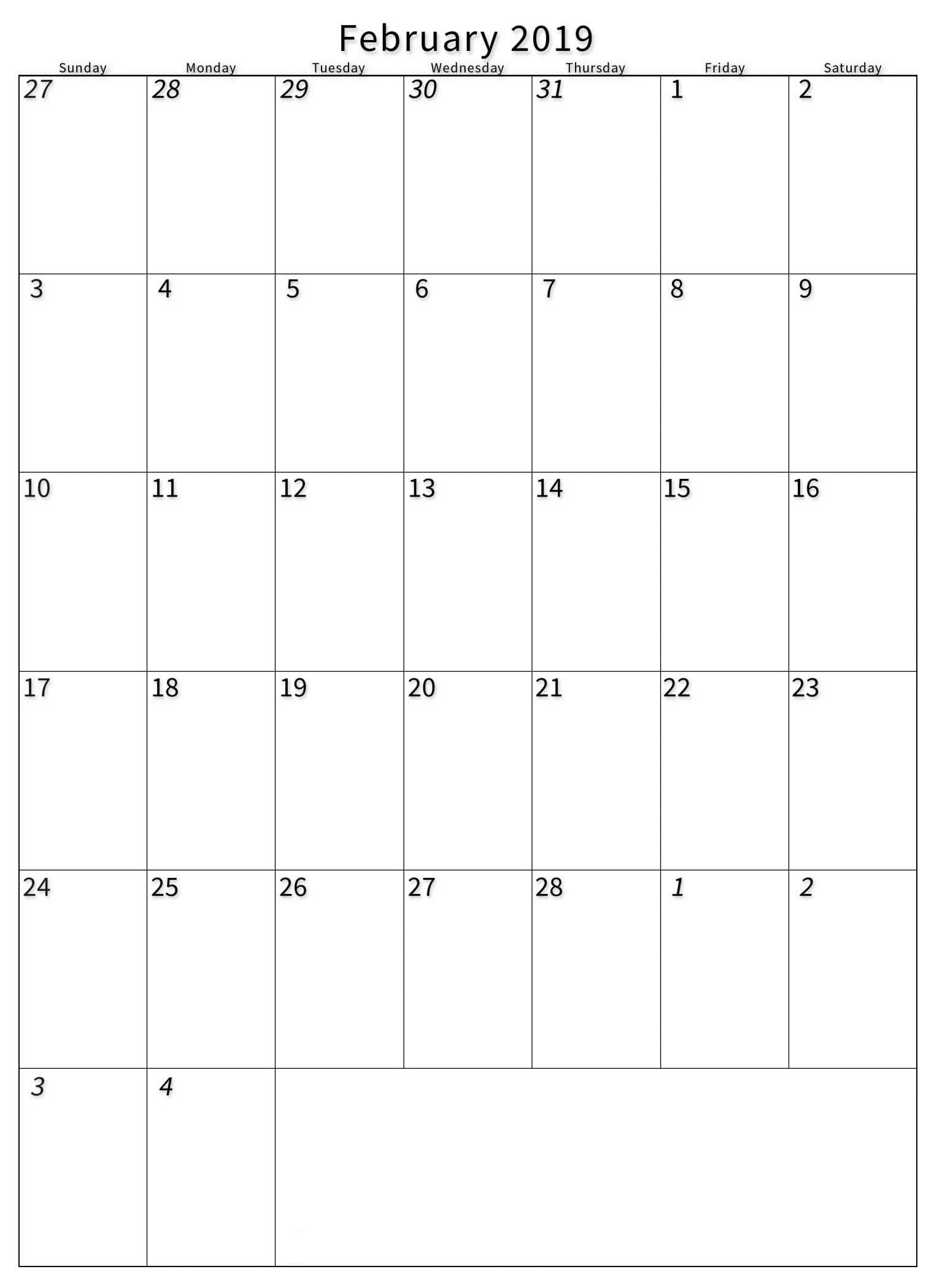 February 2019 Portrait Calendar Template – Printable Calendar Templates Calendar 2019 Portrait
