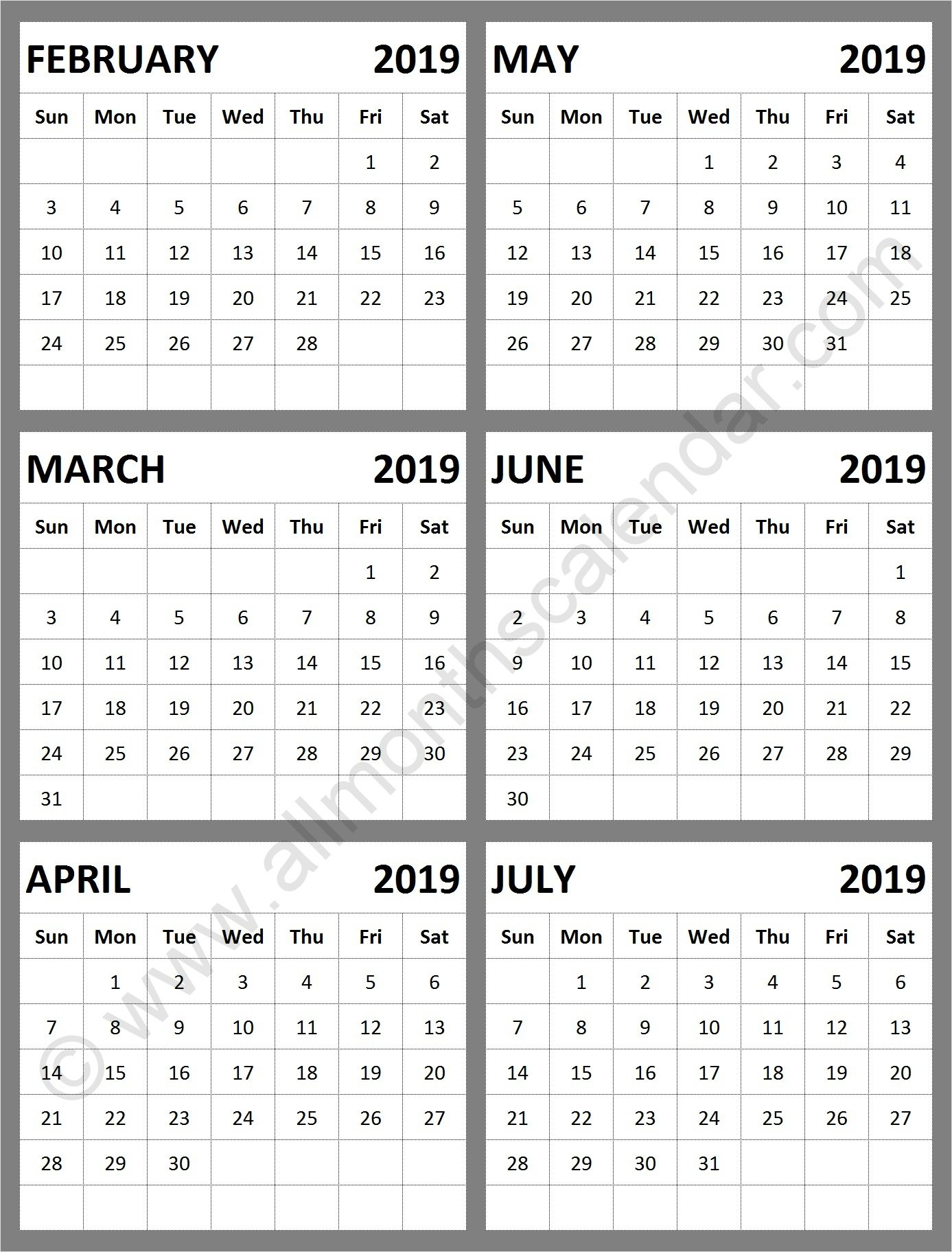 February March April May June July 2019 Calendar Template   Calendar Calendar 2019 May June July